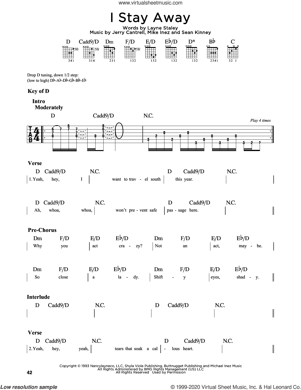 I Stay Away sheet music for guitar solo (lead sheet) by Alice In Chains, Jerry Cantrell, Layne T. Staley and Mike Inez, intermediate guitar (lead sheet)