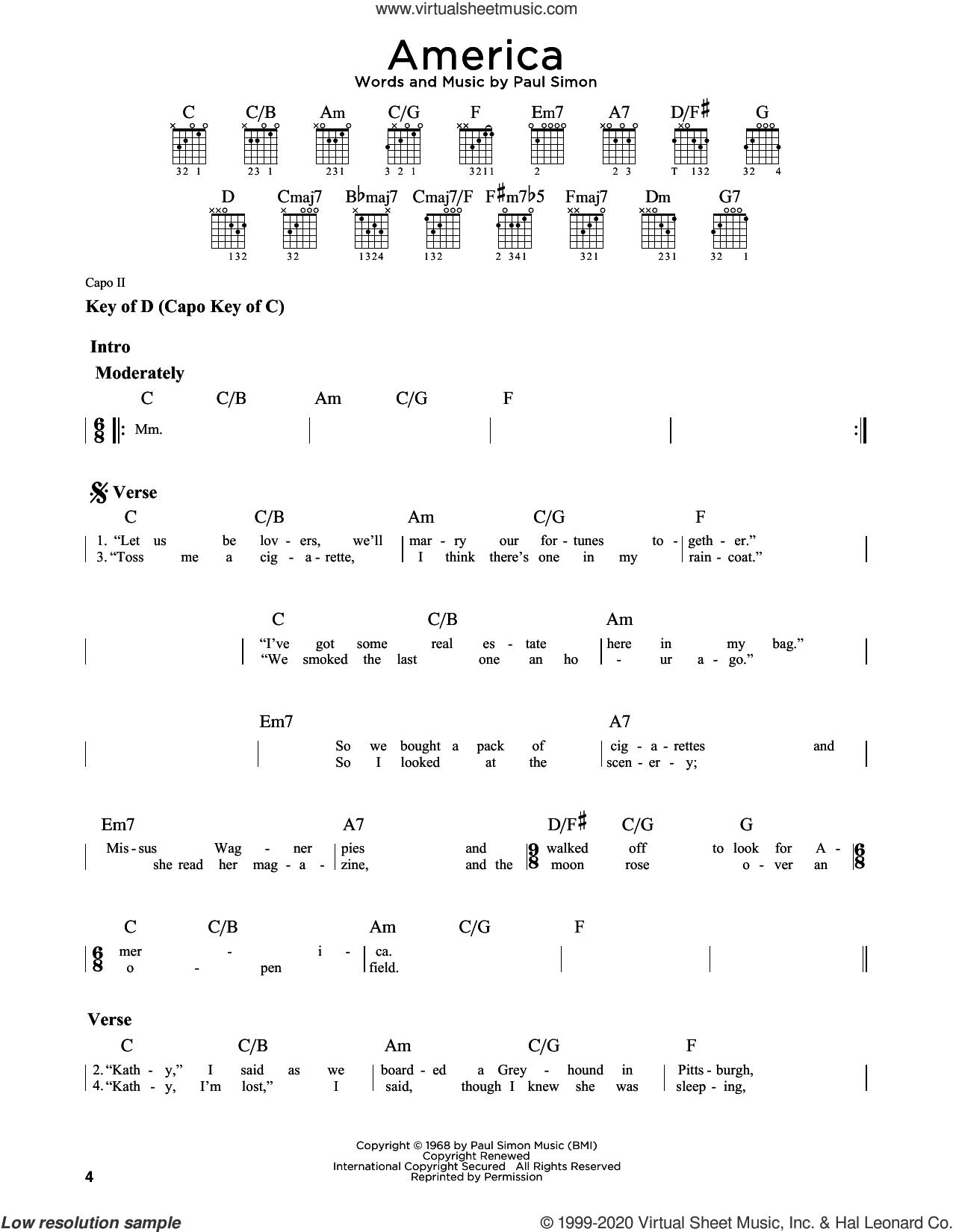 America sheet music for guitar solo (lead sheet) by Simon & Garfunkel and Paul Simon, intermediate guitar (lead sheet)
