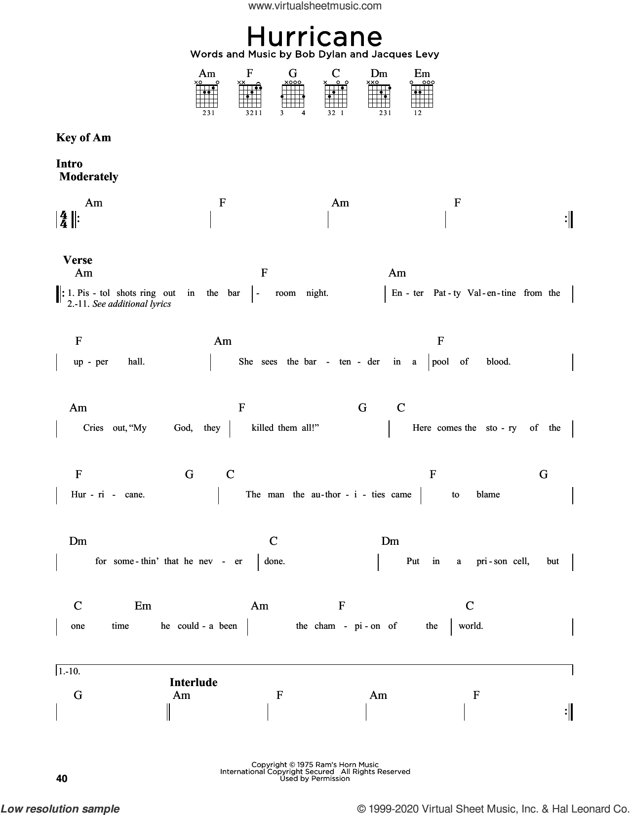Hurricane sheet music for guitar solo (lead sheet) by Bob Dylan and Jacques Levy, intermediate guitar (lead sheet)