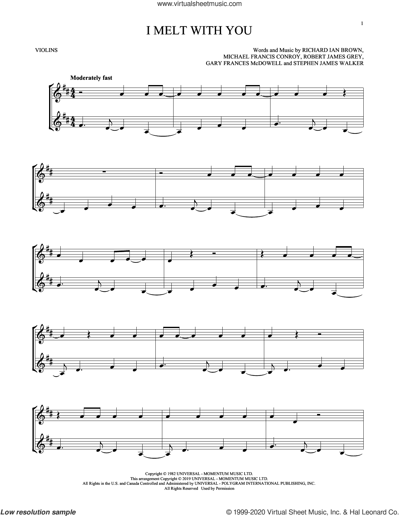 I Melt With You sheet music for two violins (duets, violin duets) by Modern English, Gary Frances McDowell, Michael Francis Conroy, Richard Ian Brown, Robert James Grey and Stephen James Walker, intermediate skill level