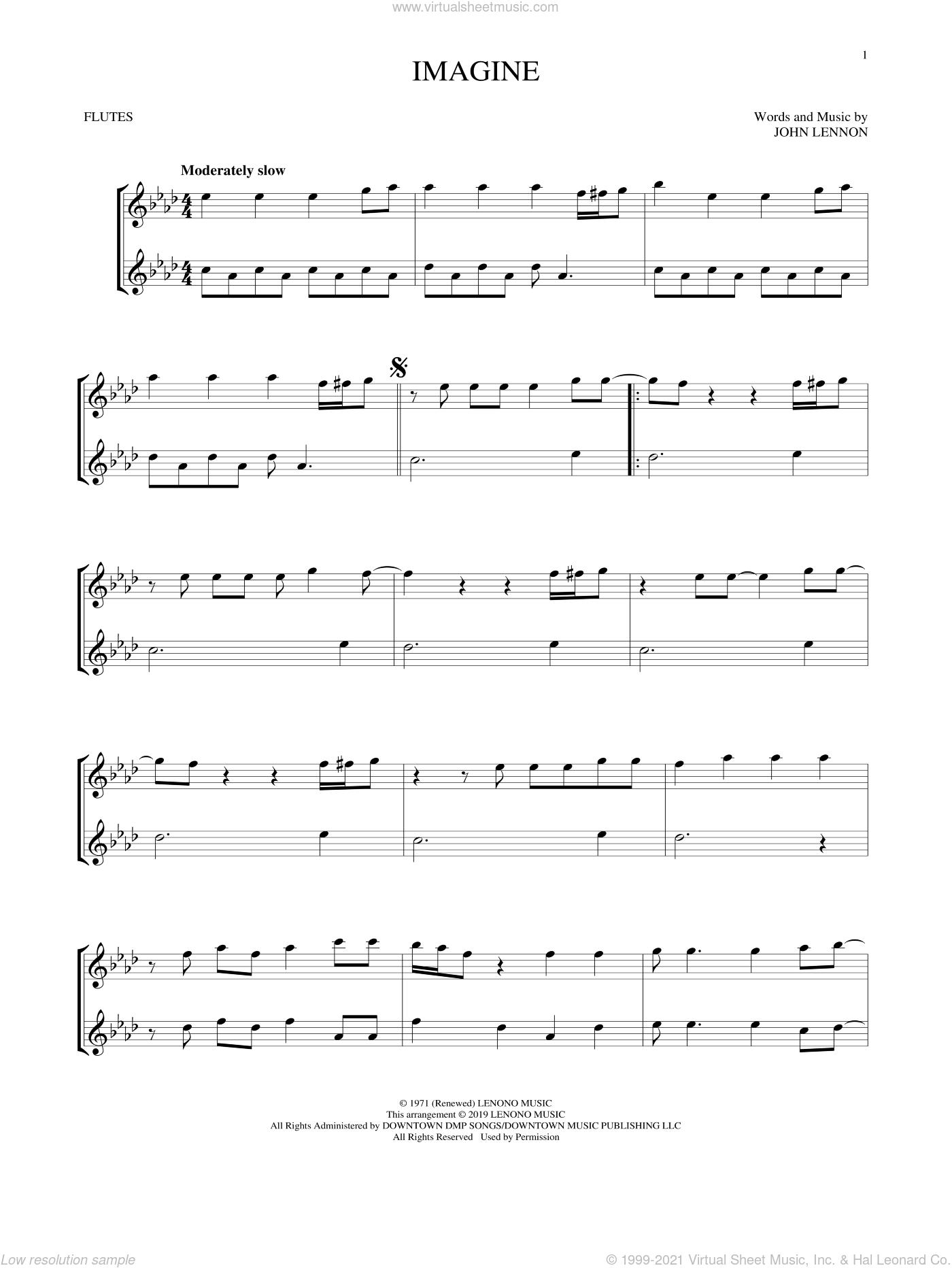 Imagine sheet music for two flutes (duets) by John Lennon, intermediate skill level