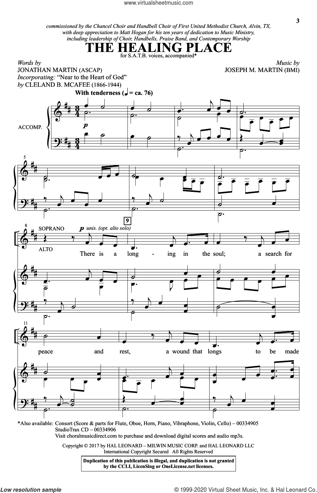 The Healing Place sheet music for choir (SATB: soprano, alto, tenor, bass) by Joseph M. Martin, Jonathan Martin and Jonathan Martin & Joseph M. Martin, intermediate skill level