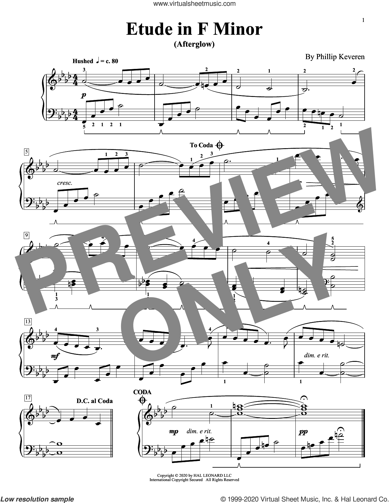 Etude In F Minor (Afterglow) sheet music for piano solo by Phillip Keveren, classical score, intermediate skill level