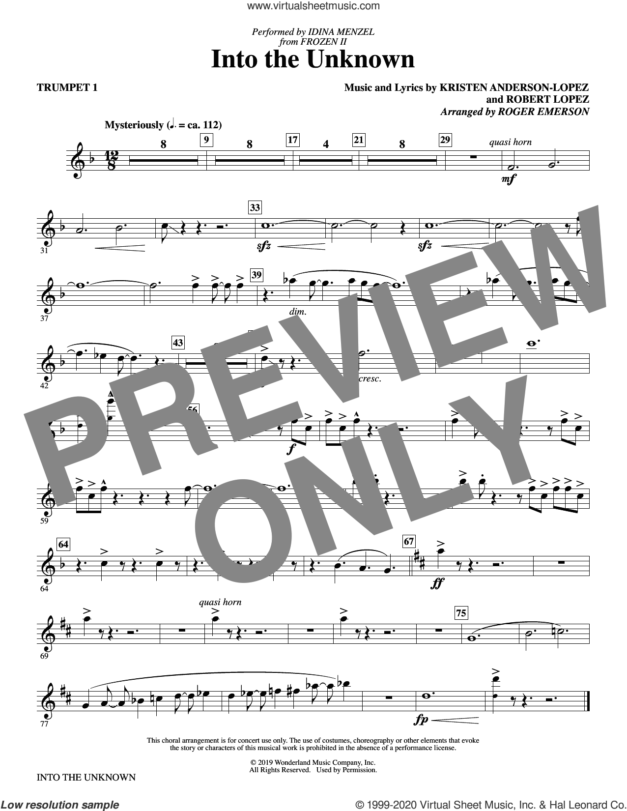 Into The Unknown (from Disney's Frozen 2) (arr. Roger Emerson) (complete set of parts) sheet music for orchestra/band by Idina Menzel and AURORA, Aurora, Idina Menzel, Kristen Anderson-Lopez, Panic! At The Disco, Robert Lopez and Roger Emerson, intermediate skill level