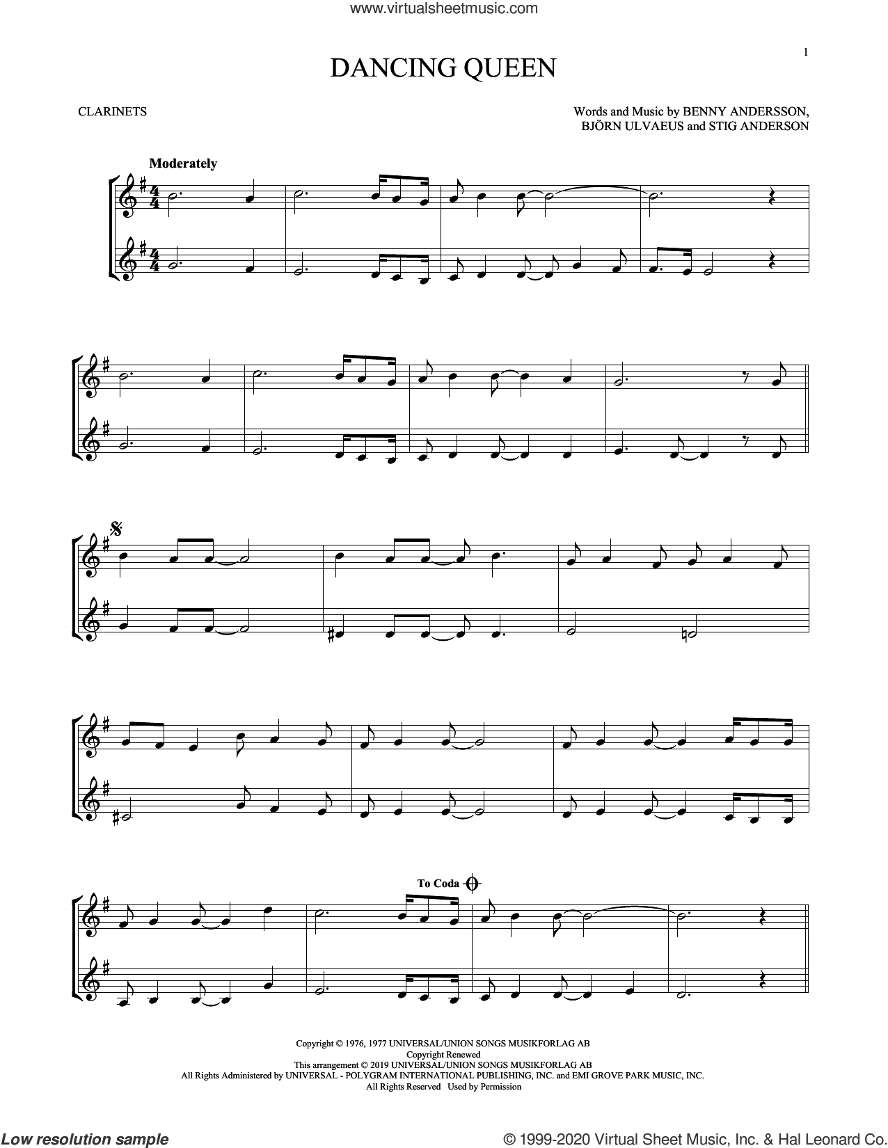 Dancing Queen sheet music for two clarinets (duets) by ABBA, Benny Andersson, Bjorn Ulvaeus and Stig Anderson, intermediate skill level