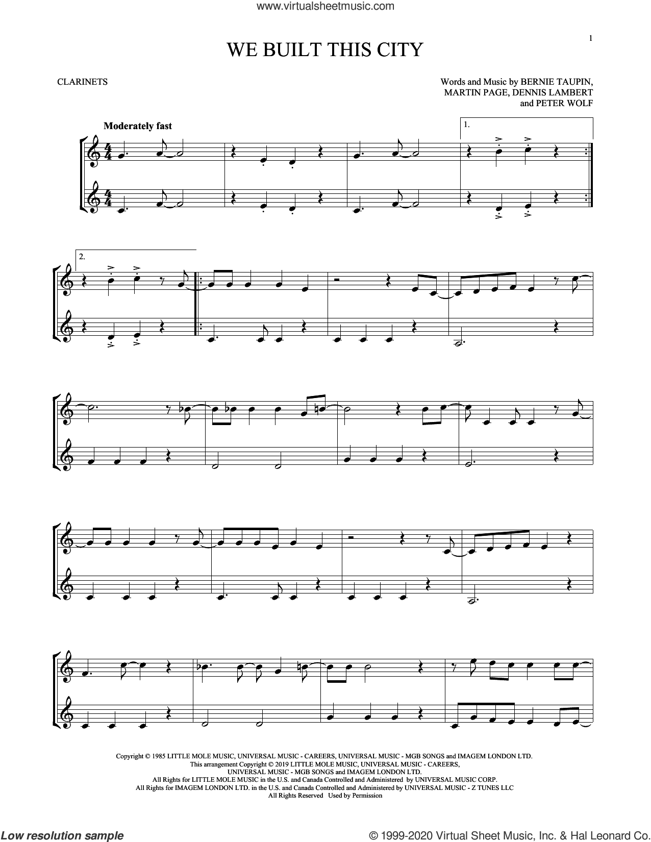 We Built This City sheet music for two clarinets (duets) by Starship, Bernie Taupin, Dennis Lambert, Martin George Page and Peter Wolf, intermediate skill level