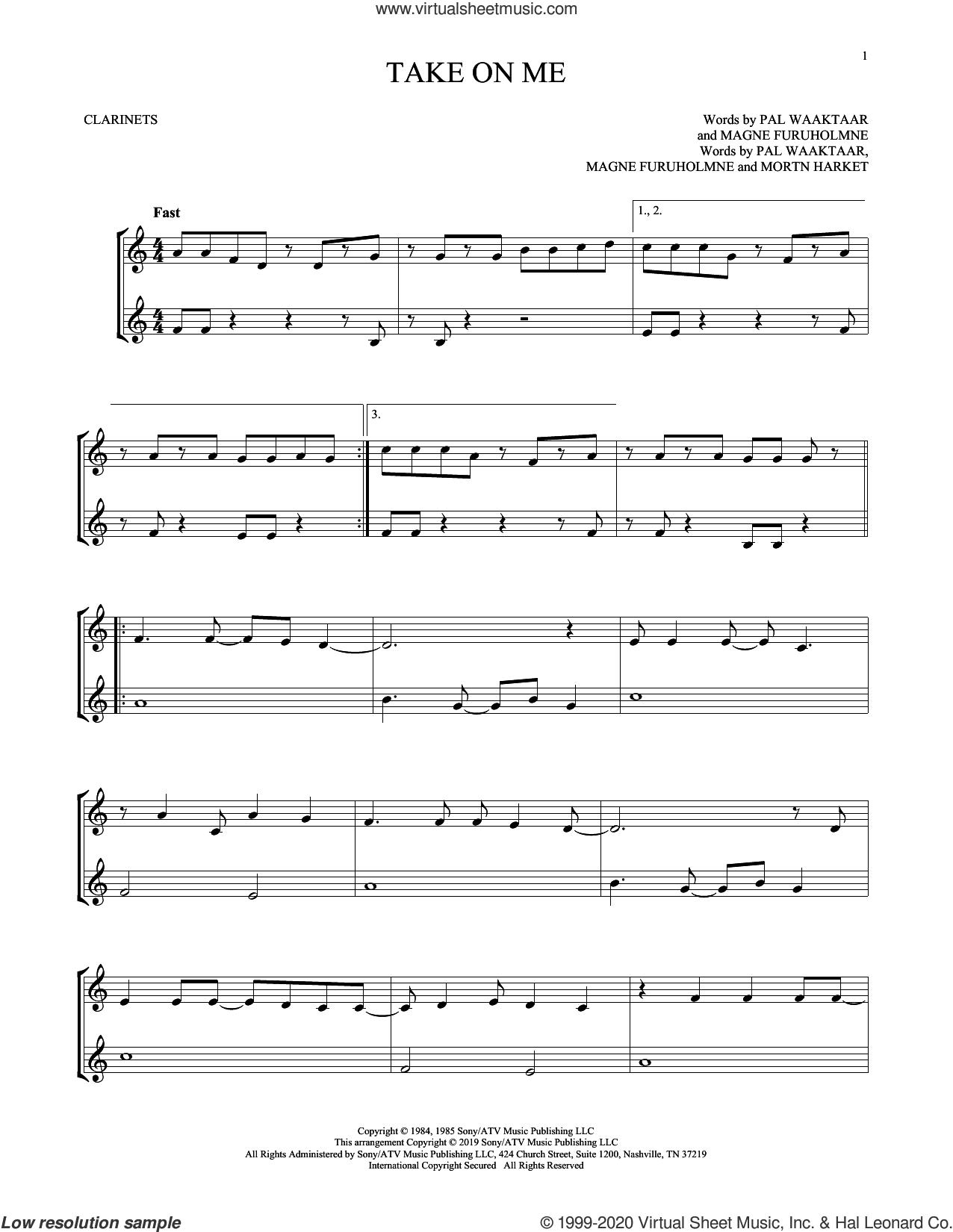 Take On Me sheet music for two clarinets (duets) by a-ha, Magne Furuholmne, Morton Harket and Pal Waaktaar, intermediate skill level