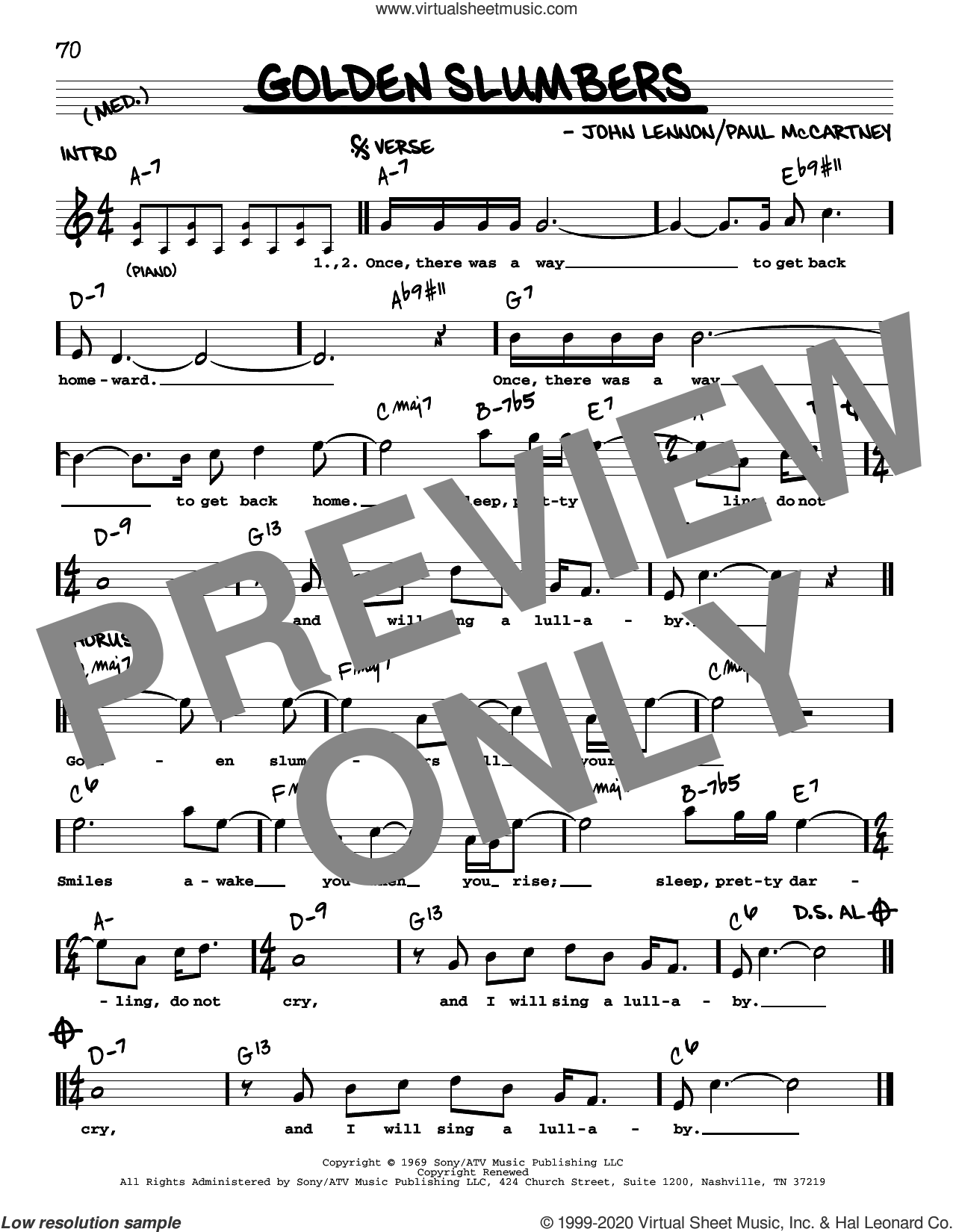 Golden Slumbers [Jazz version] sheet music for voice and other instruments (real book with lyrics) by The Beatles, John Lennon and Paul McCartney, intermediate skill level