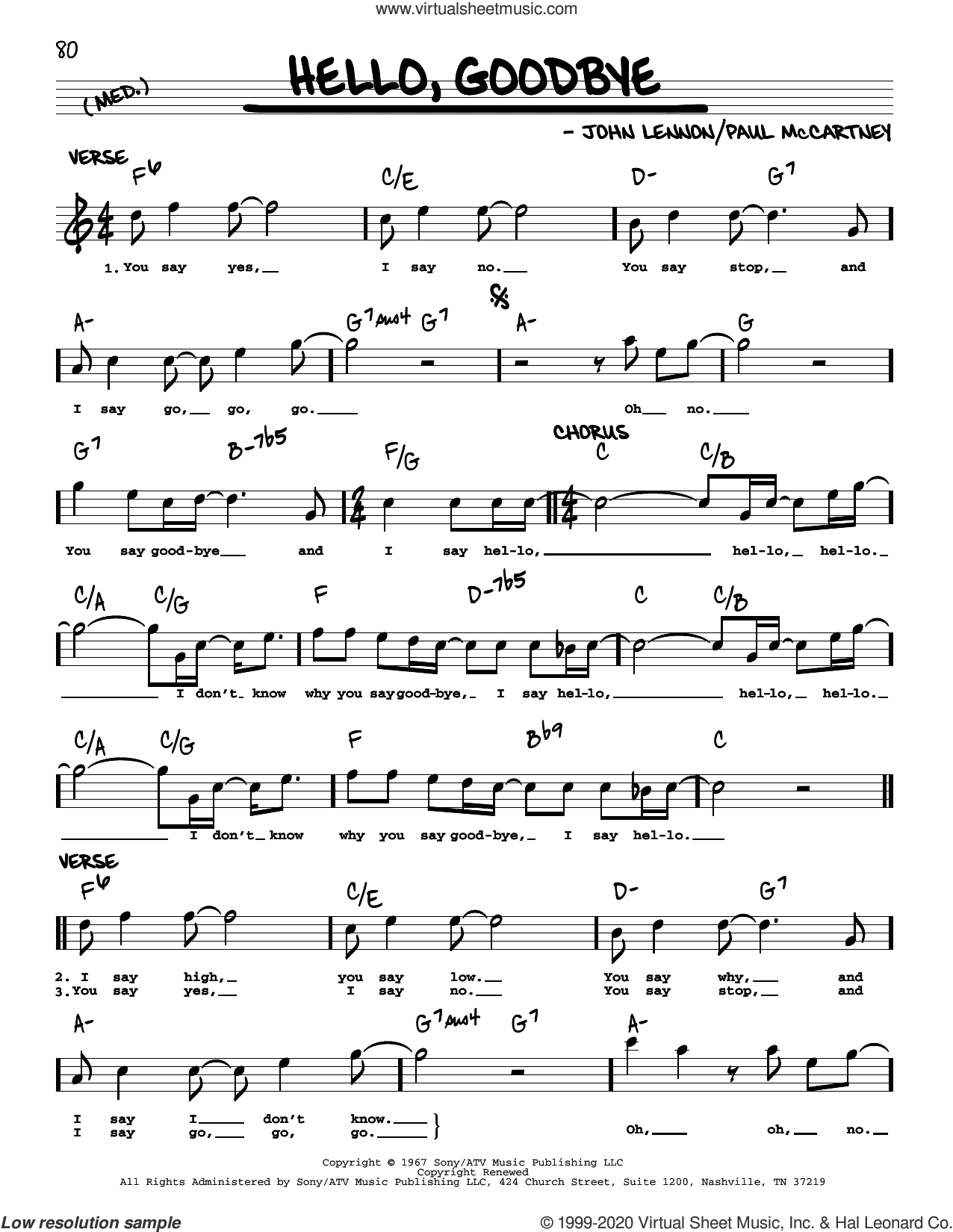 Hello, Goodbye [Jazz version] sheet music for voice and other instruments (real book with lyrics) by The Beatles, John Lennon and Paul McCartney, intermediate skill level