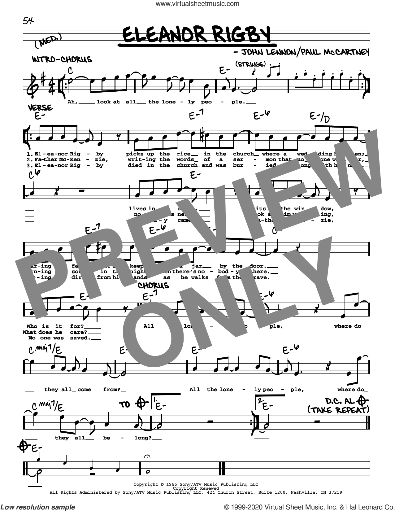 Eleanor Rigby [Jazz version] sheet music for voice and other instruments (real book with lyrics) by The Beatles, John Lennon and Paul McCartney, intermediate skill level