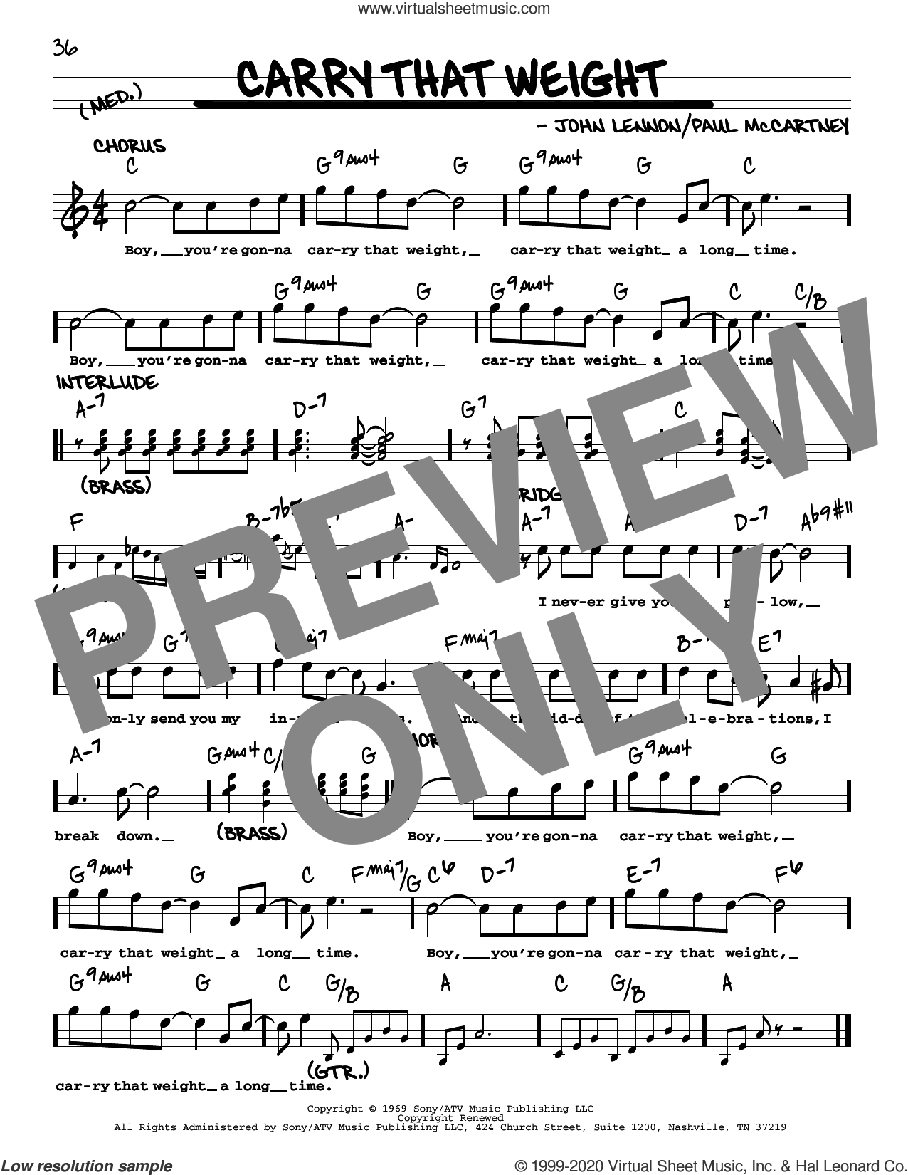 Carry That Weight [Jazz version] sheet music for voice and other instruments (real book with lyrics) by The Beatles, John Lennon and Paul McCartney, intermediate skill level