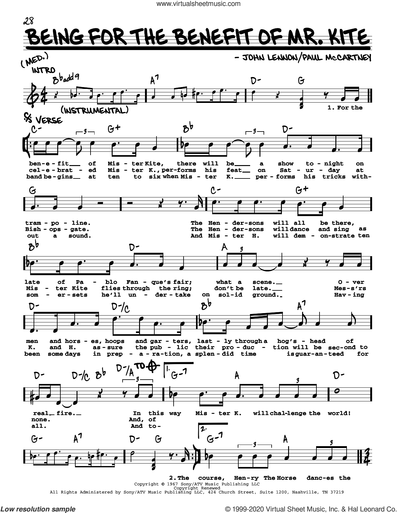 Being For The Benefit Of Mr. Kite [Jazz version] sheet music for voice and other instruments (real book with lyrics) by The Beatles, John Lennon and Paul McCartney, intermediate skill level