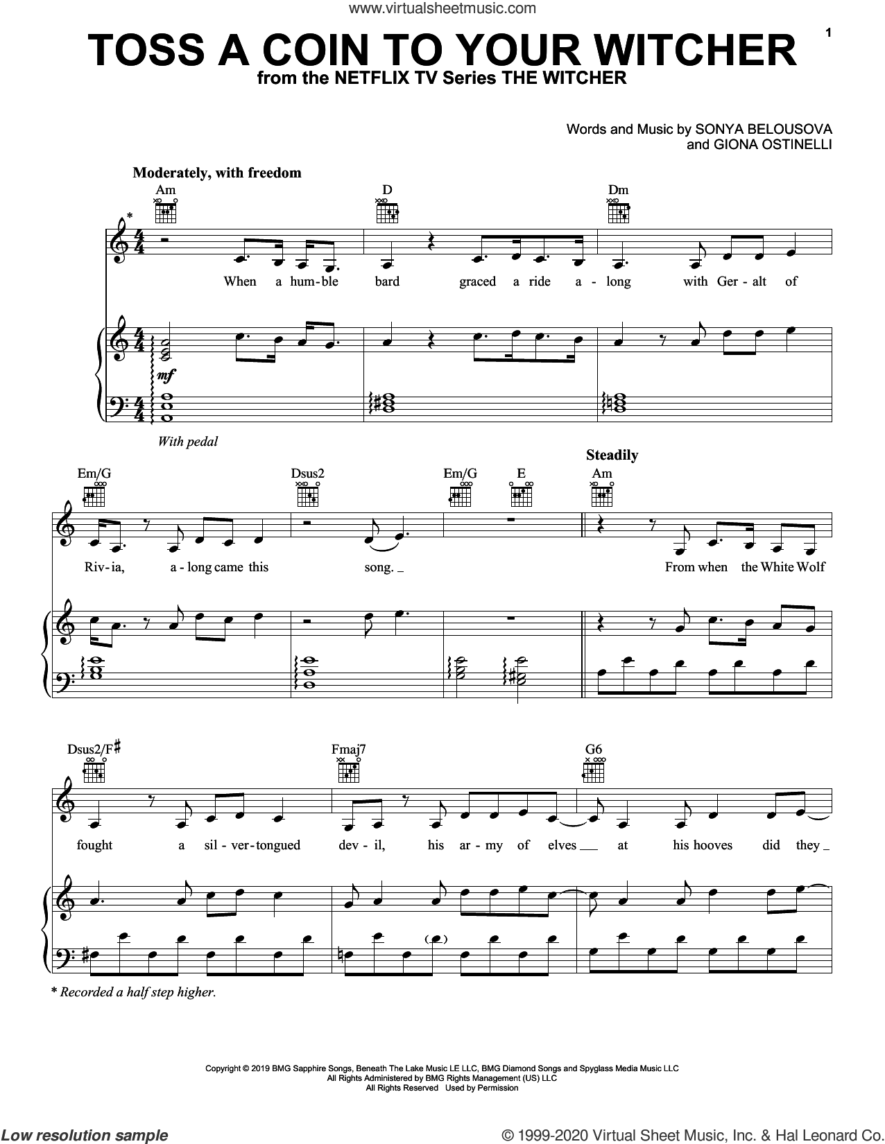 Toss A Coin To Your Witcher (from The Witcher) sheet music for voice, piano or guitar by Joey Batey, Giona Ostinelli and Sonya Belousova, intermediate skill level