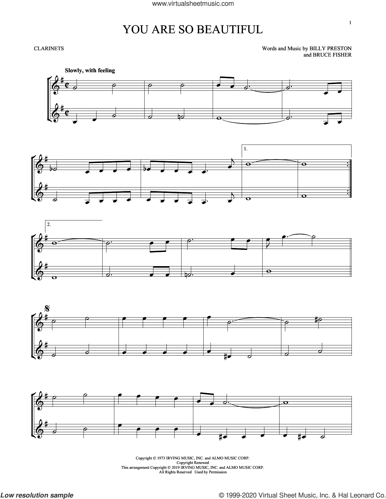 You Are So Beautiful sheet music for two clarinets (duets) by Joe Cocker, Billy Preston and Bruce Fisher, intermediate skill level