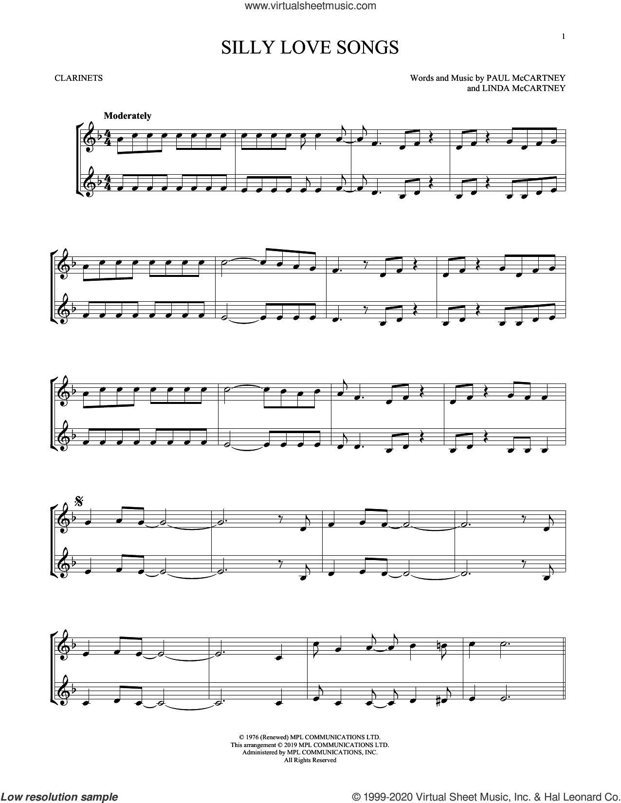 Silly Love Songs sheet music for two clarinets (duets) by Wings, Linda McCartney and Paul McCartney, intermediate skill level