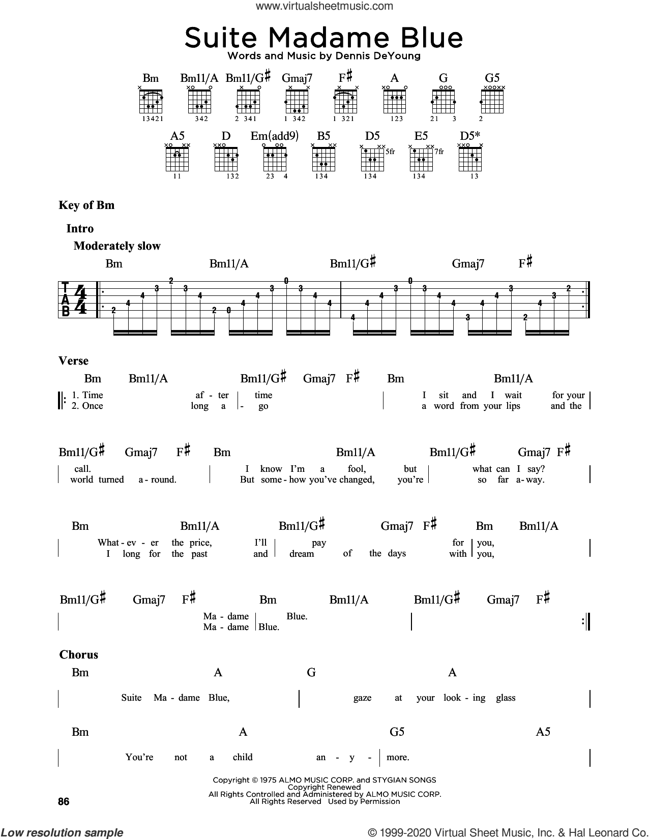 Suite Madame Blue sheet music for guitar solo (lead sheet) by Styx and Dennis DeYoung, intermediate guitar (lead sheet)