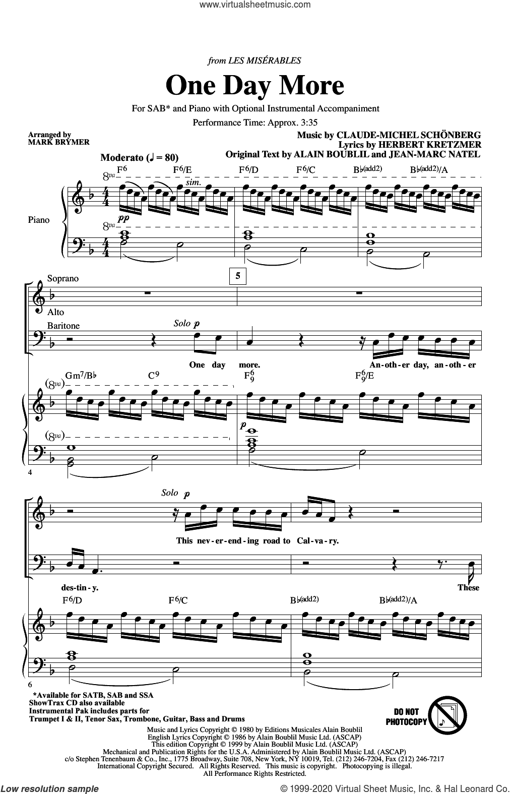 One Day More (from Les Miserables) (arr. Mark Brymer) sheet music for choir (SAB: soprano, alto, bass) by Alain Boublil, Mark Brymer, Boublil & Schonberg, Claude-Michel Schonberg, Herbert Kretzmer and Jean-Marc Natel, intermediate skill level