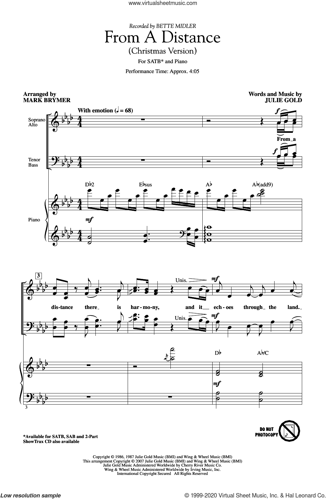 From A Distance (Christmas Version) (arr. Mark Brymer) sheet music for choir (SATB: soprano, alto, tenor, bass) by Bette Midler, Mark Brymer and Julie Gold, intermediate skill level