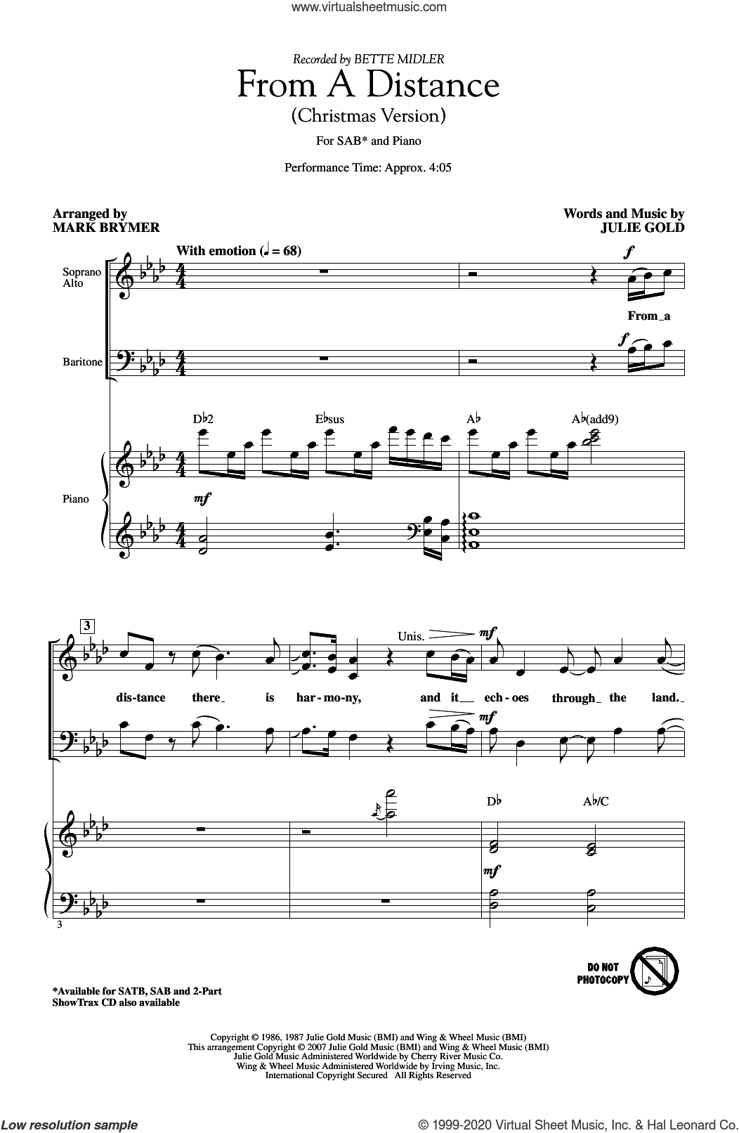 From A Distance (Christmas Version) (arr. Mark Brymer) sheet music for choir (SAB: soprano, alto, bass) by Bette Midler, Mark Brymer and Julie Gold, intermediate skill level