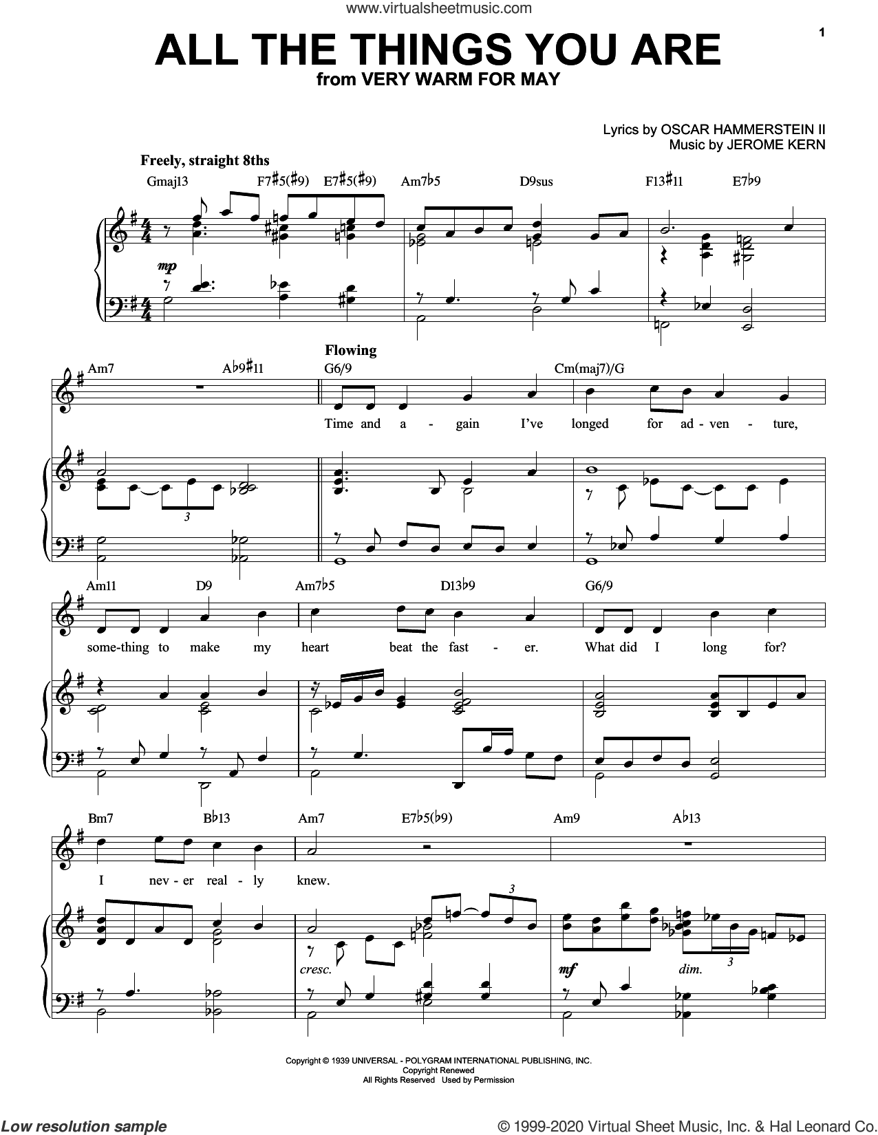 All The Things You Are [Jazz version] (arr. Brent Edstrom) sheet music for voice and piano (High Voice) by Oscar II Hammerstein, Brent Edstrom and Jerome Kern, intermediate skill level