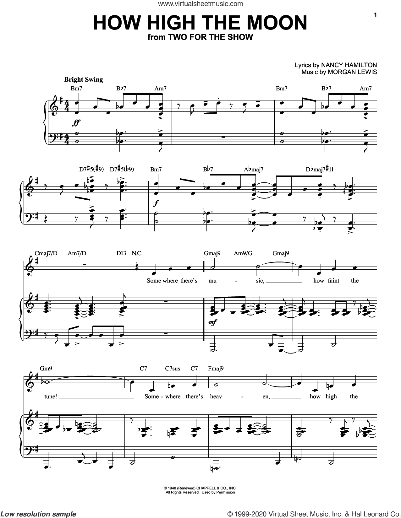 How High The Moon [Jazz version] (arr. Brent Edstrom) sheet music for voice and piano (High Voice) by Morgan Lewis, Brent Edstrom, Nancy Hamilton and Nancy Hamilton and Morgan Lewis, intermediate skill level