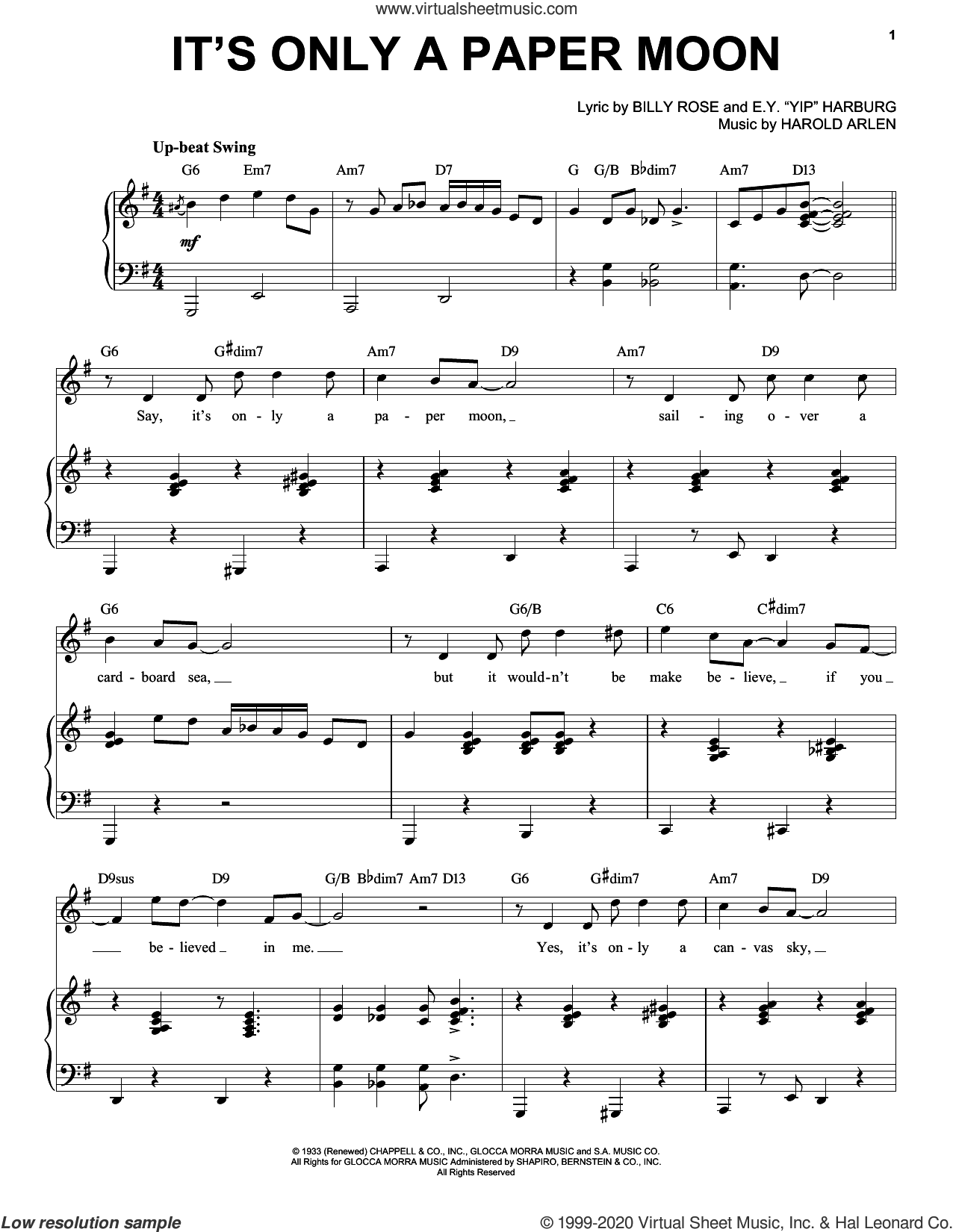 It's Only A Paper Moon [Jazz version] (arr. Brent Edstrom) sheet music for voice and piano (High Voice) by Harold Arlen, Brent Edstrom, Billy Rose, Billy Rose, E.Y. 'Yip' Harburg and Harold Arlen and E.Y. Harburg, intermediate skill level