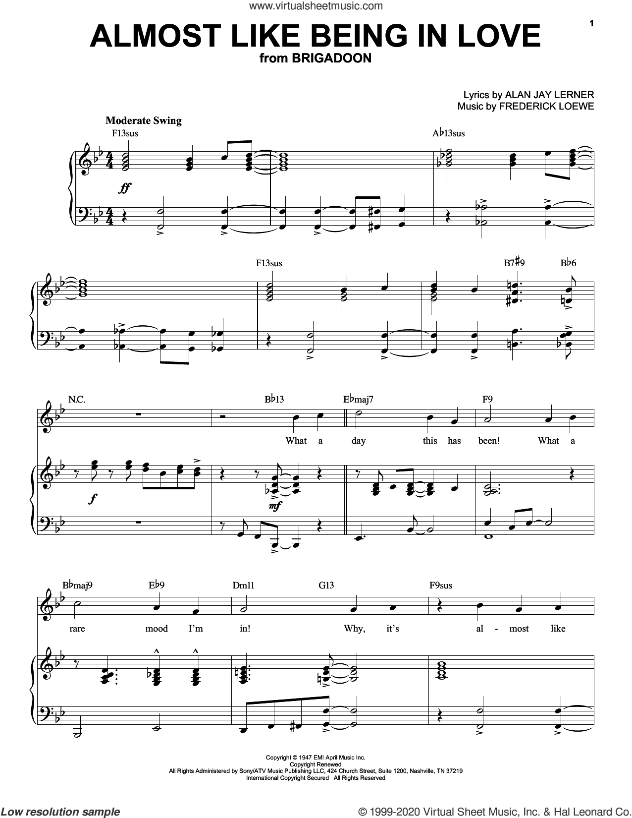 Almost Like Being In Love [Jazz version] (arr. Brent Edstrom) sheet music for voice and piano (High Voice) by Alan Jay Lerner, Brent Edstrom, Frederick Loewe and Lerner & Loewe, intermediate skill level