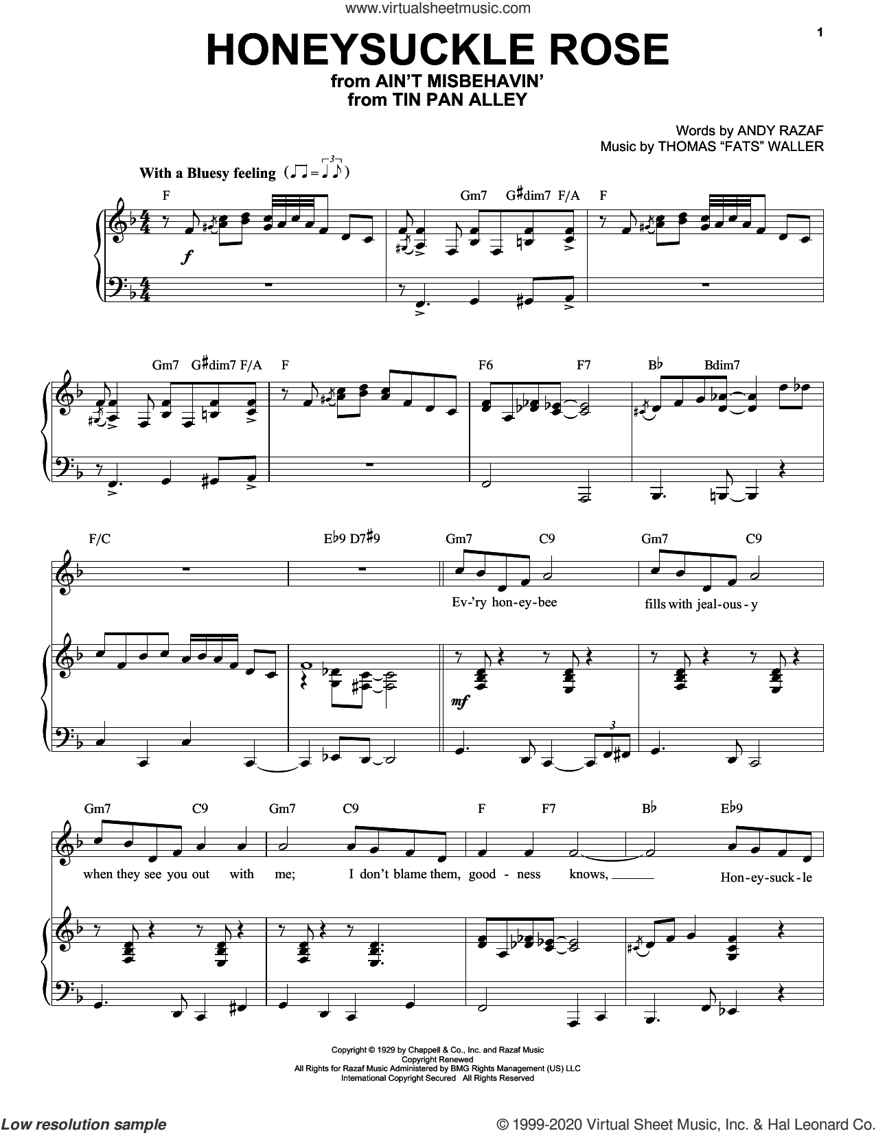 Honeysuckle Rose [Jazz version] (arr. Brent Edstrom) sheet music for voice and piano (High Voice) by Andy Razaf, Brent Edstrom, Andy Razaf and Thomas 'Fats' Waller and Thomas Waller, intermediate skill level
