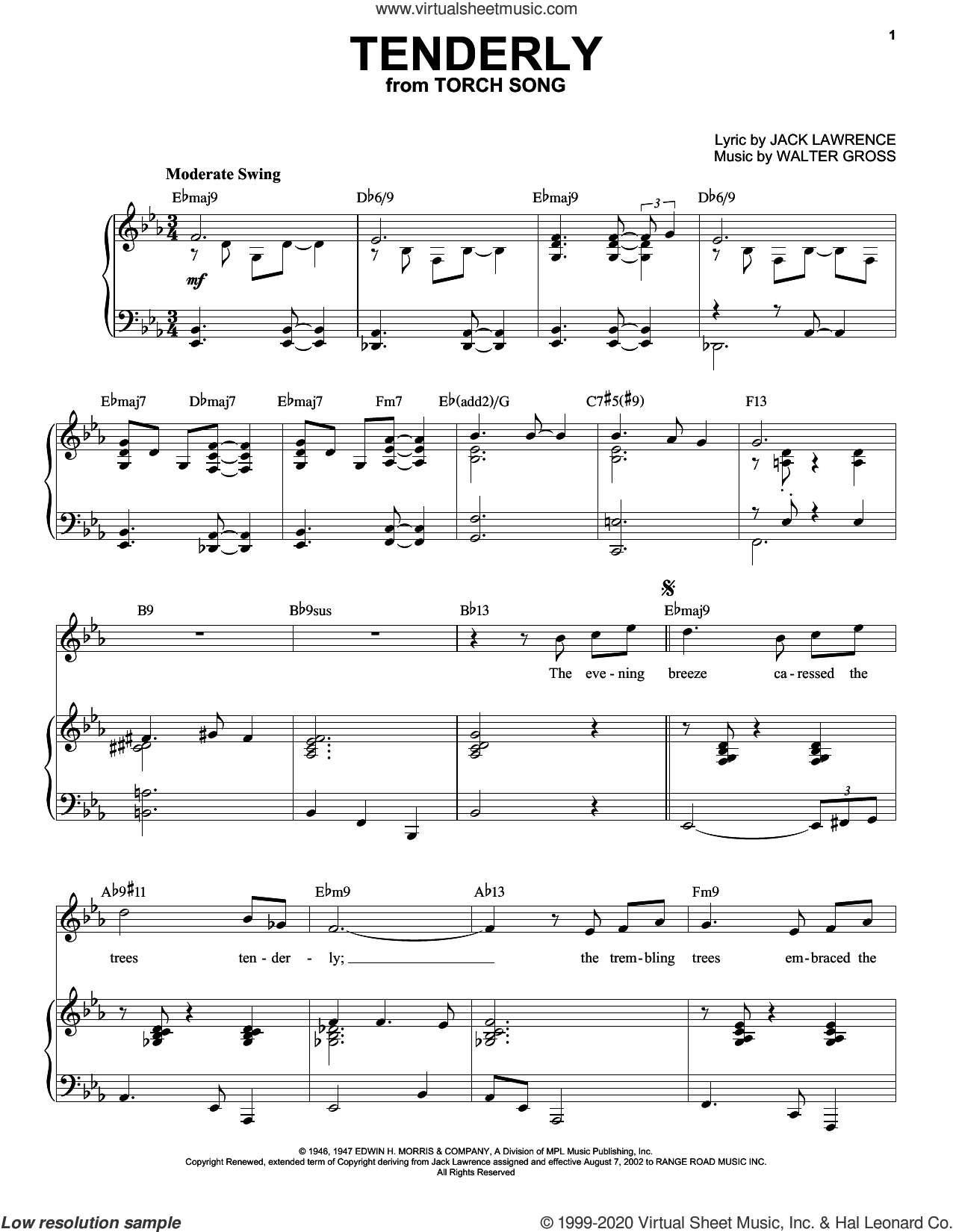 Tenderly [Jazz version] (arr. Brent Edstrom) sheet music for voice and piano (High Voice) by Jack Lawrence, Brent Edstrom, Jack Lawrence and Walter Gross and Walter Gross, intermediate skill level