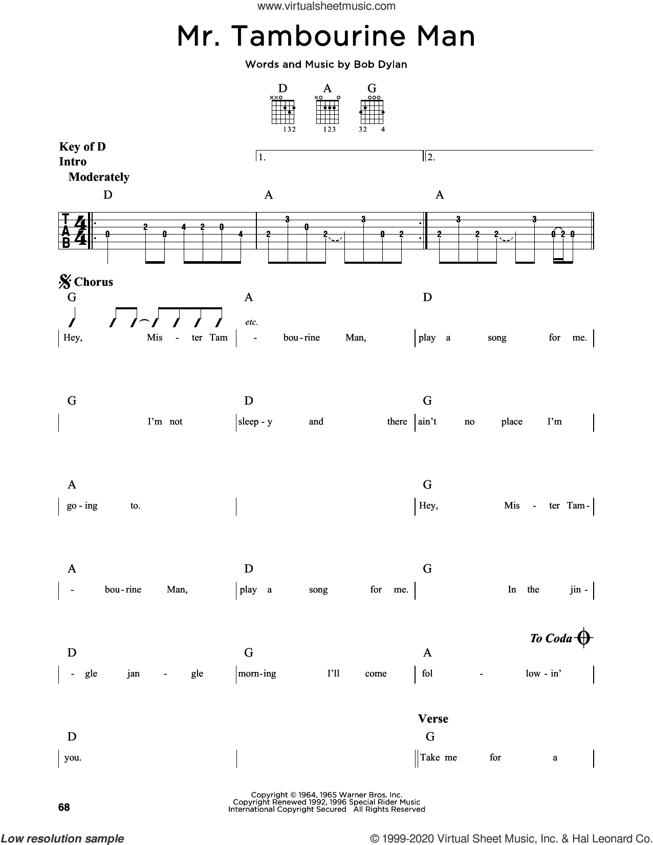 Mr. Tambourine Man sheet music for guitar solo (lead sheet) by Bob Dylan, intermediate guitar (lead sheet)