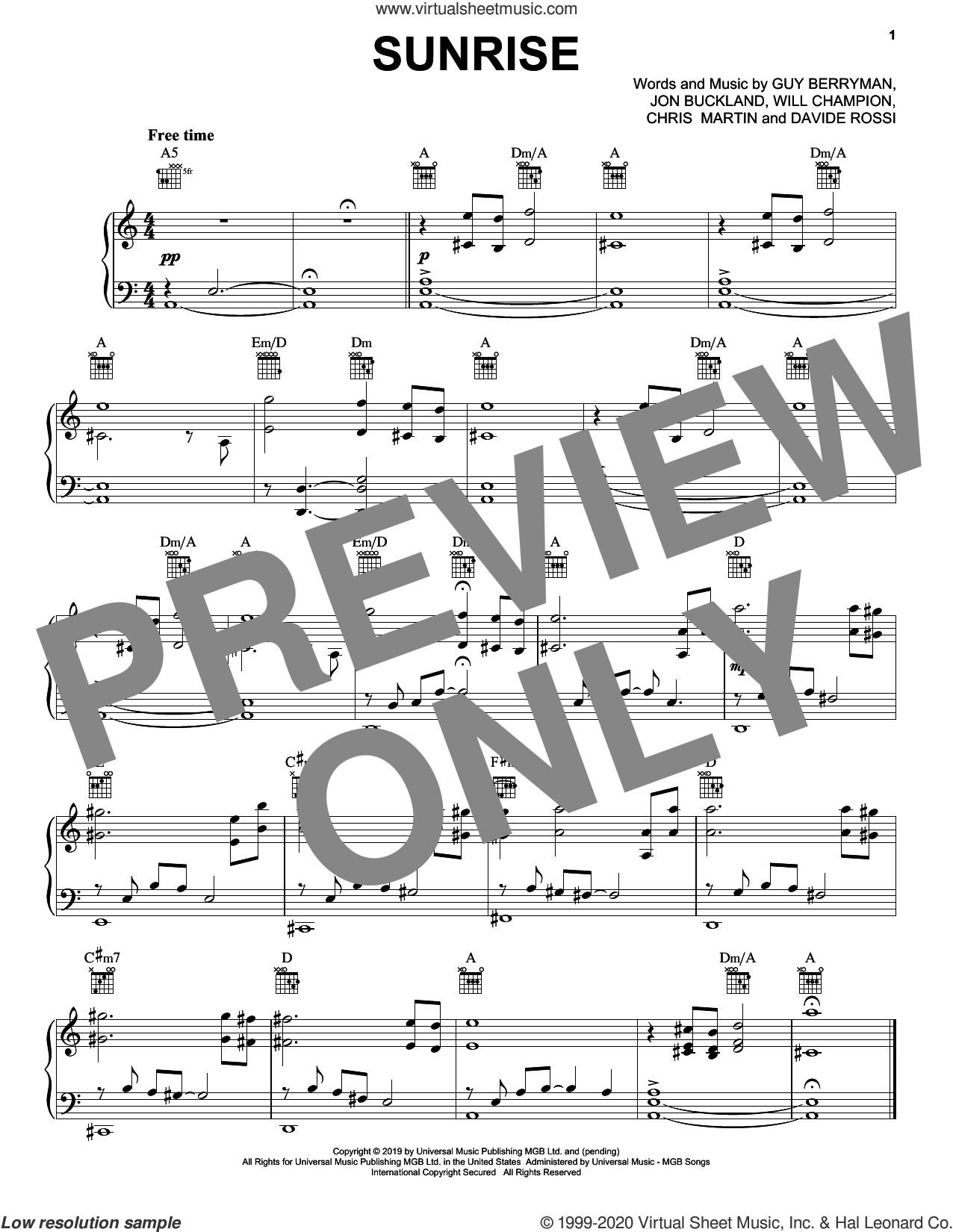 Sunrise sheet music for voice, piano or guitar by Coldplay, Chris Martin, Davide Rossi, Guy Berryman, Jon Buckland and Will Champion, intermediate skill level