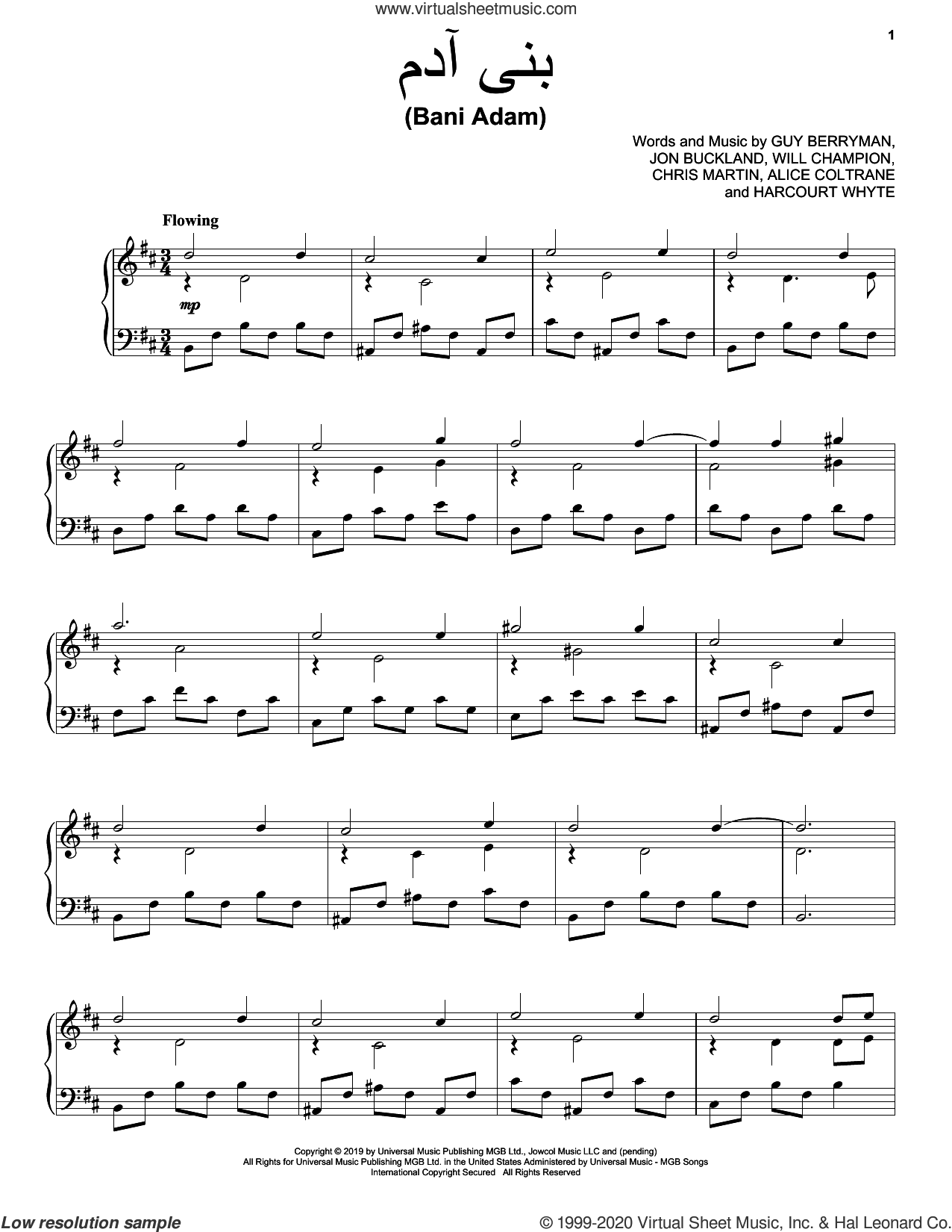 Bani Adam sheet music for voice, piano or guitar by Coldplay, Alice Coltrane, Chris Martin, Guy Berryman, Harcourt Whyte, Jon Buckland and Will Champion, intermediate skill level