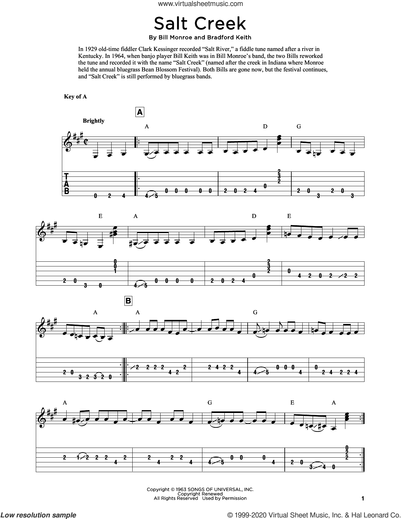 Salt Creek (arr. Fred Sokolow) sheet music for guitar solo by Bill Monroe, Fred Sokolow and Bradford Keith, intermediate skill level