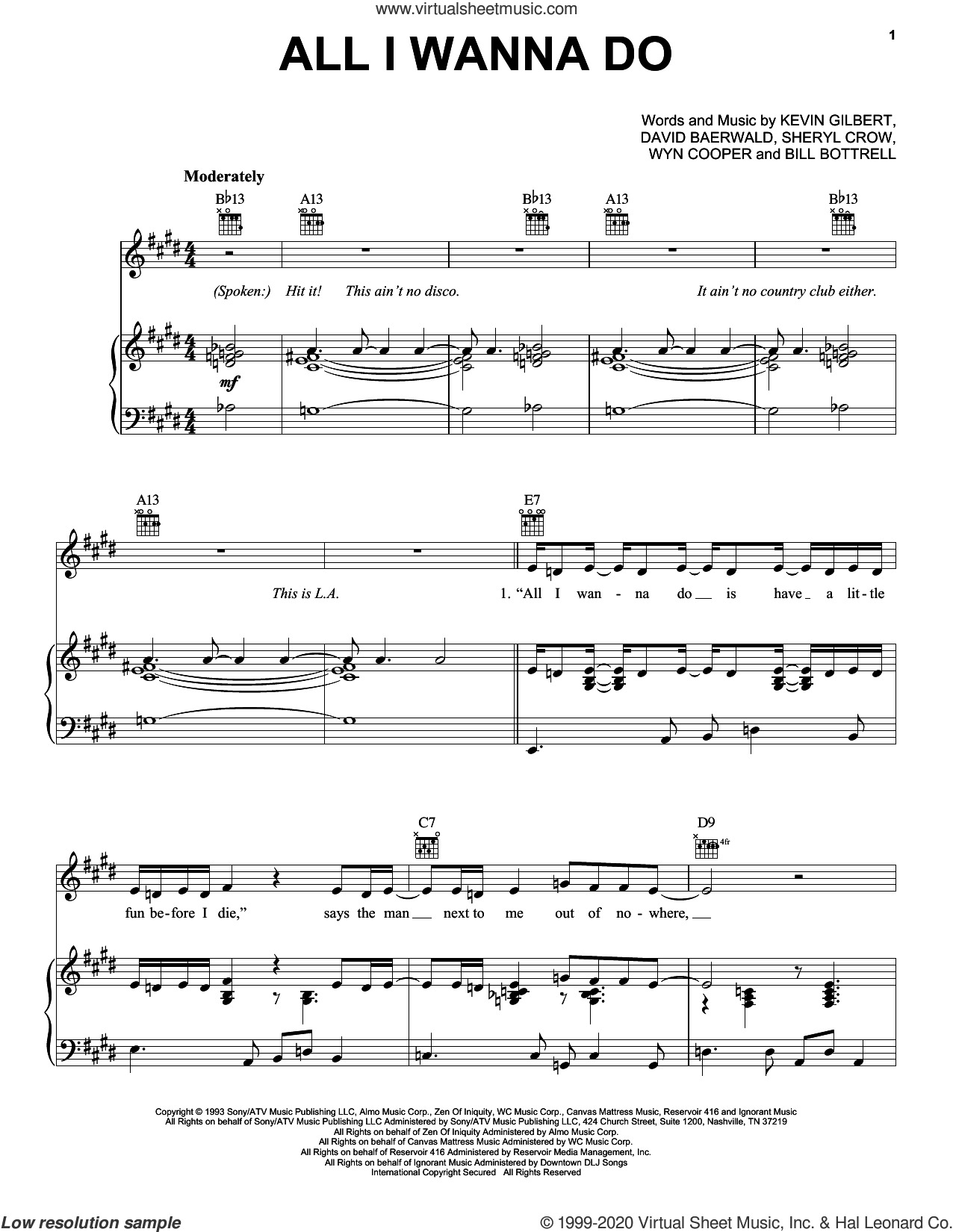All I Wanna Do sheet music for voice, piano or guitar by Sheryl Crow, Bill Bottrell, David Baerwald, Kevin Gilbert and Wyn Cooper, intermediate skill level