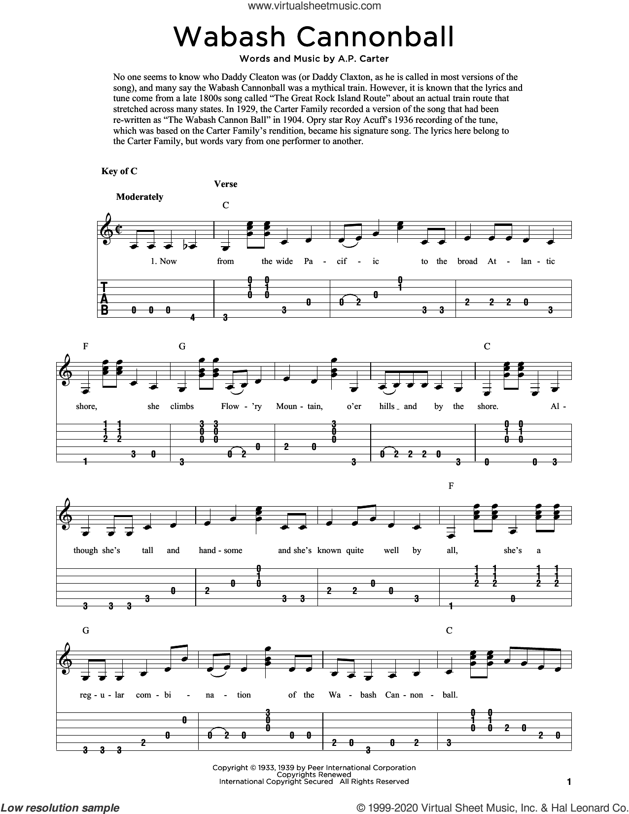 Wabash Cannonball (arr. Fred Sokolow) sheet music for guitar solo by The Carter Family, Fred Sokolow and A.P. Carter, intermediate skill level