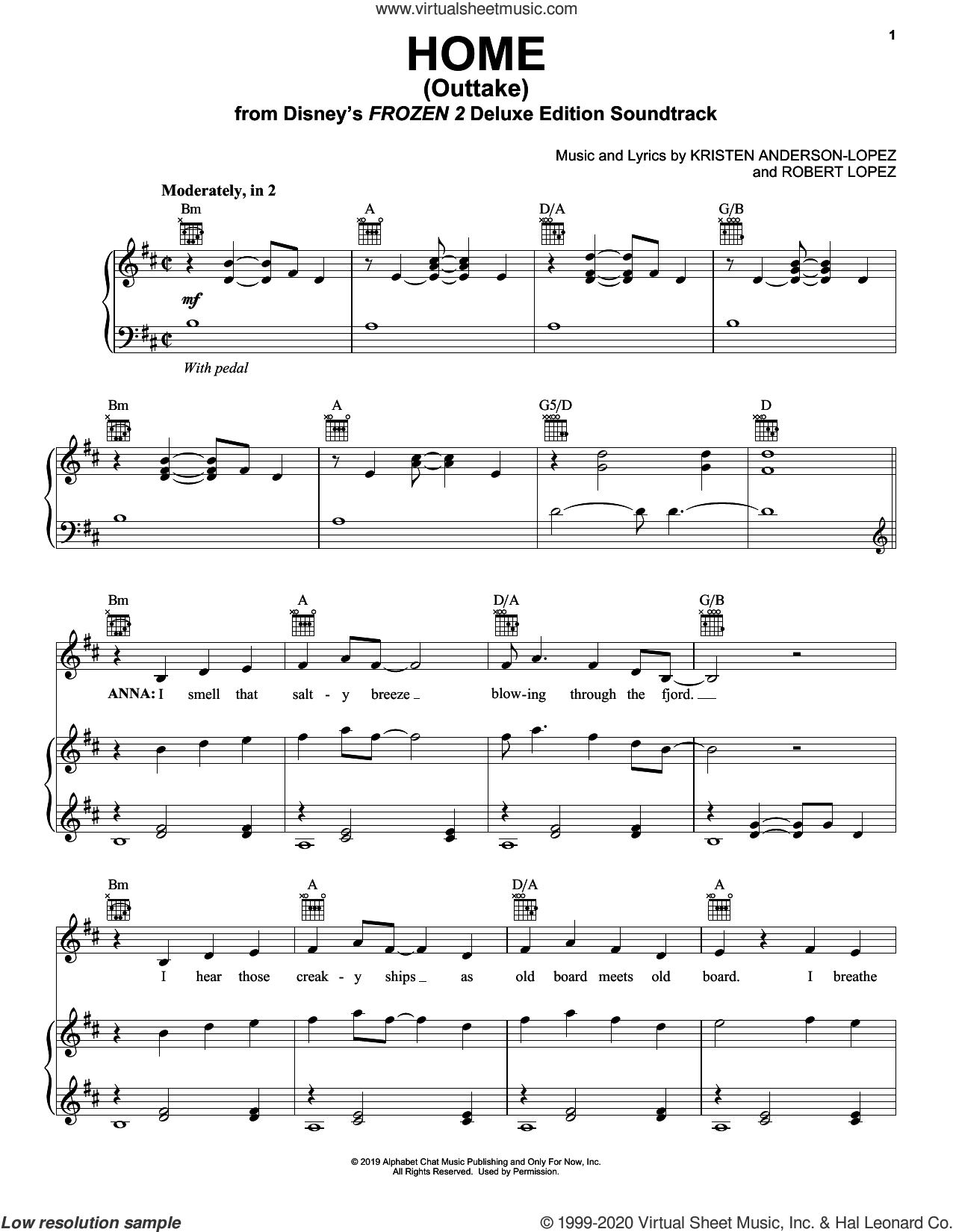 Home - Outtake (from Disney's Frozen 2) sheet music for voice, piano or guitar by Kristen Bell, Kristen Anderson-Lopez and Robert Lopez, intermediate skill level