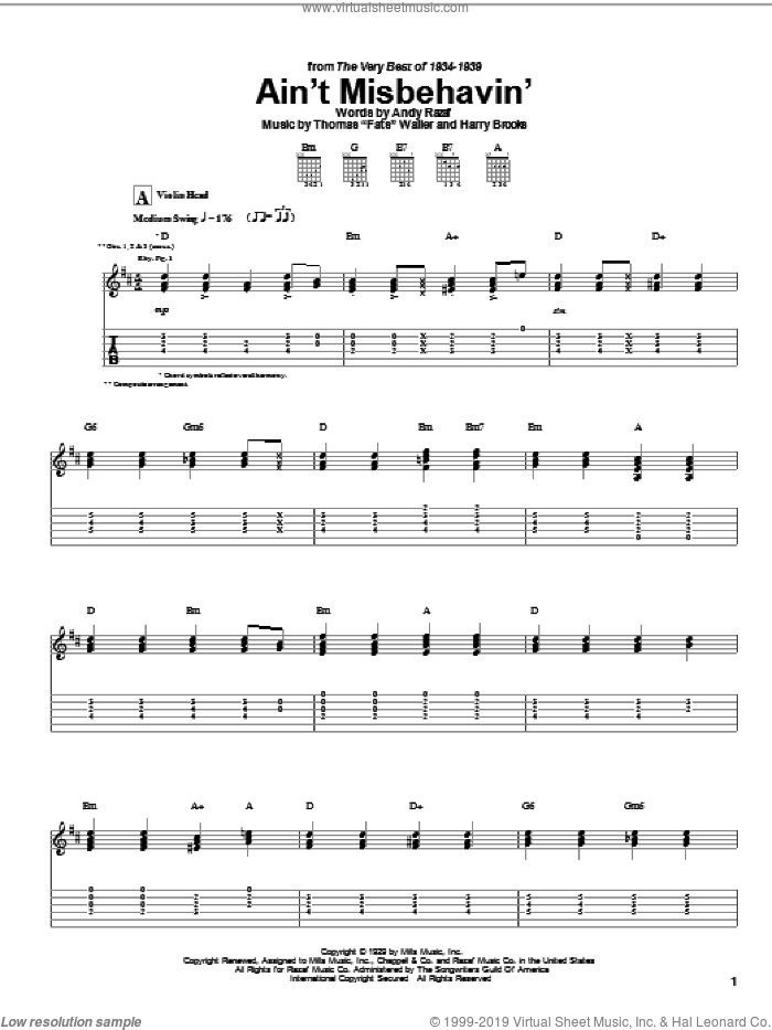 Ain't Misbehavin' sheet music for guitar (tablature) by Fats Waller, Django Reinhardt, Andy Razaf and Harry Brooks. Score Image Preview.