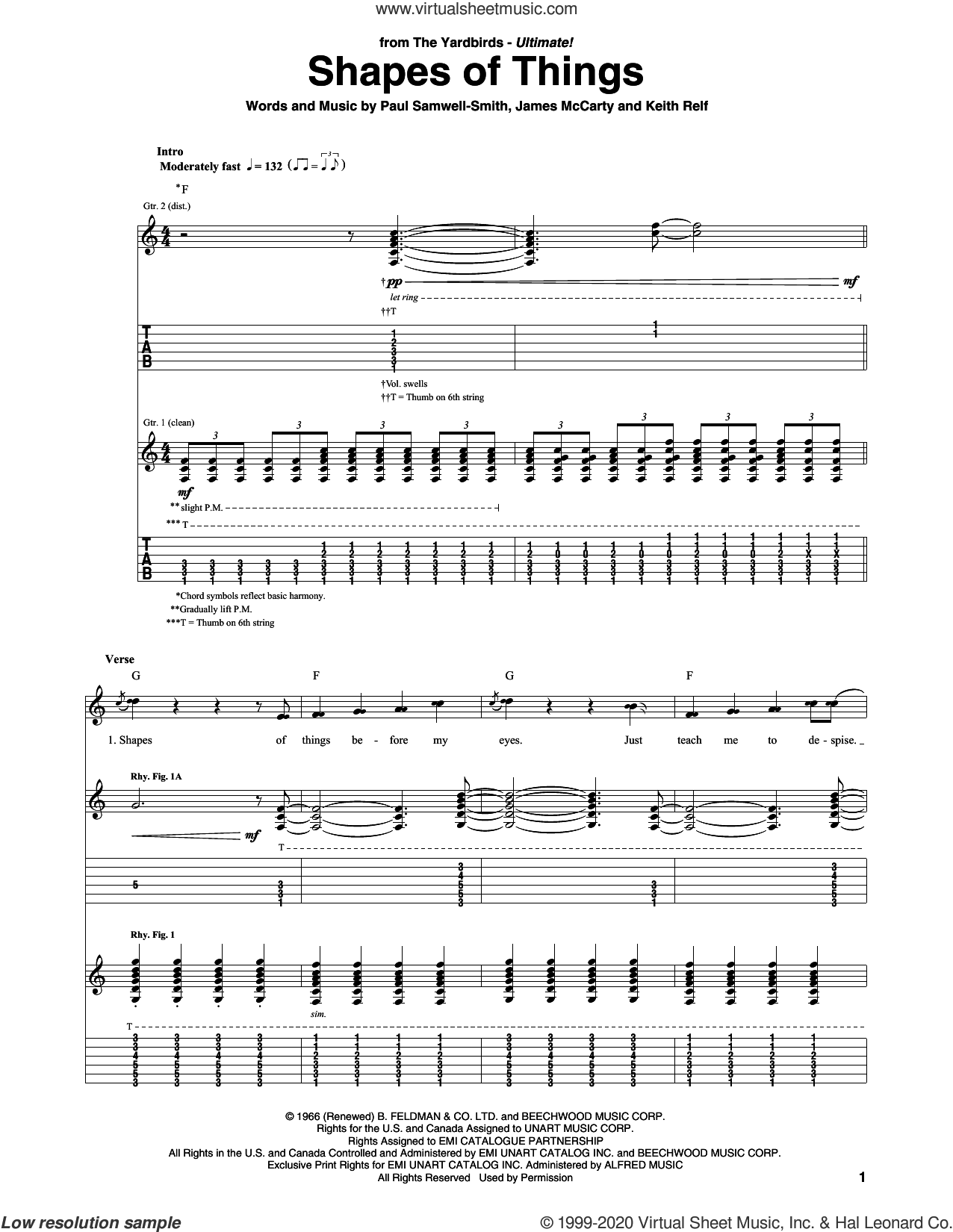 Shapes Of Things sheet music for guitar (tablature) by The Yardbirds, James McCarty, Keith Relf and Paul Samwell-Smith, intermediate skill level