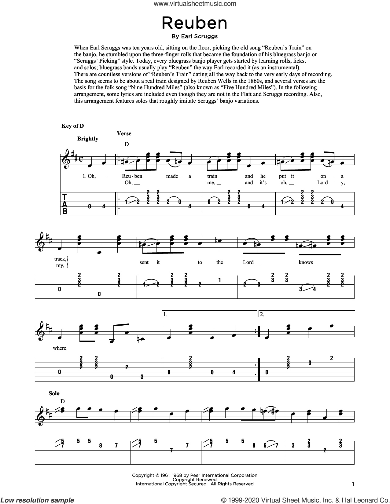 Reuben (arr. Fred Sokolow) sheet music for guitar solo by Flatt & Scruggs, Fred Sokolow and Earl Scruggs, intermediate skill level
