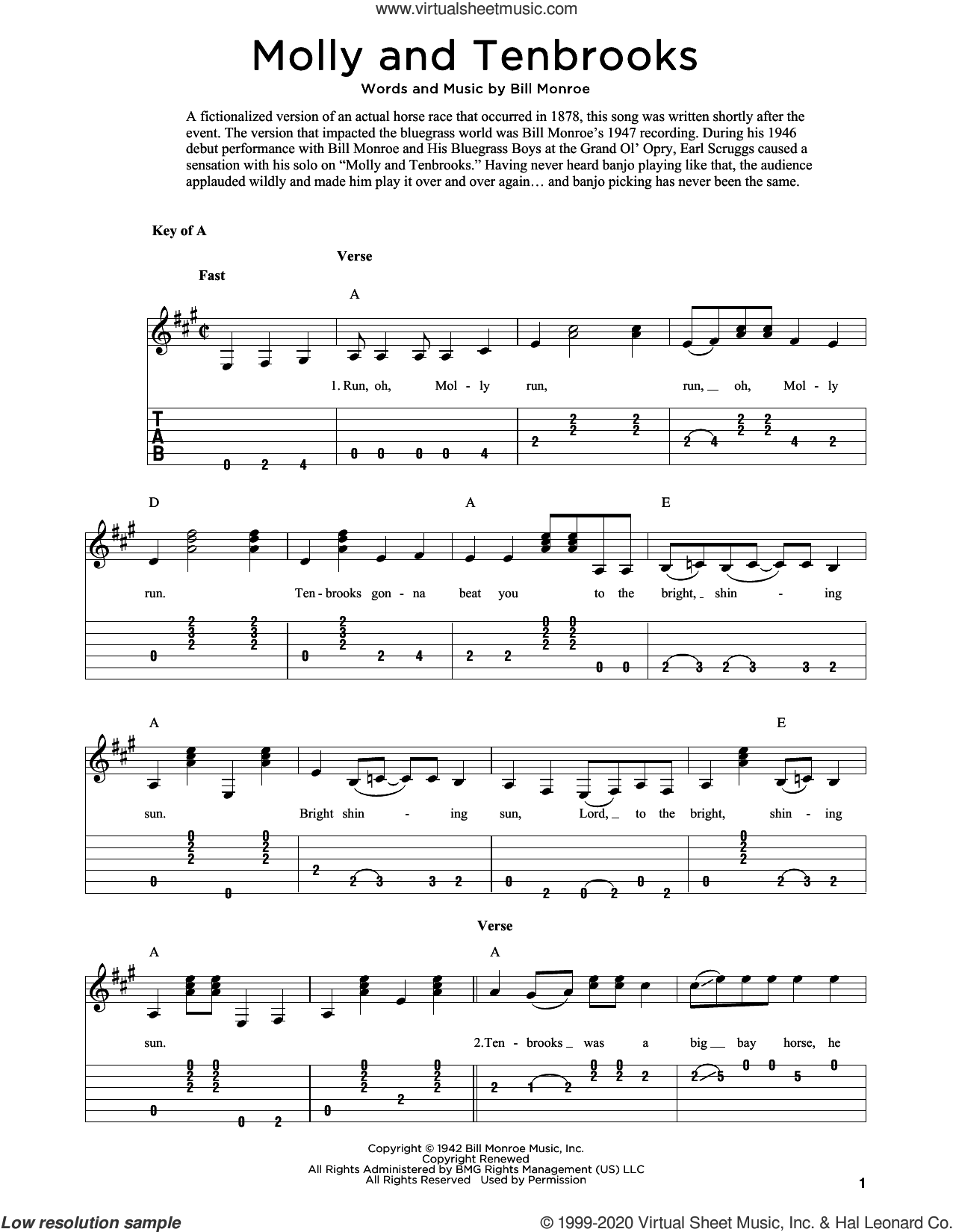 Molly And Tenbrooks (arr. Fred Sokolow) sheet music for guitar solo by Bill Monroe and Fred Sokolow, intermediate skill level