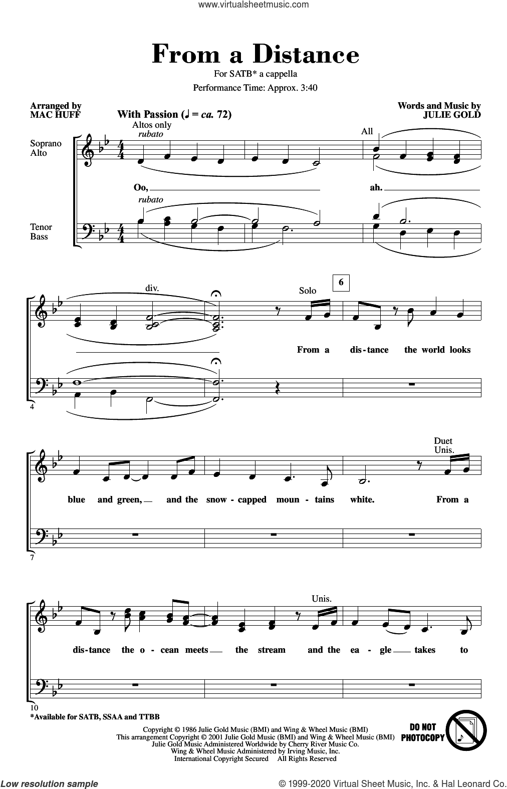 From A Distance (arr. Mac Huff) sheet music for choir (SATB: soprano, alto, tenor, bass) by Bette Midler, Mac Huff and Julie Gold, intermediate skill level