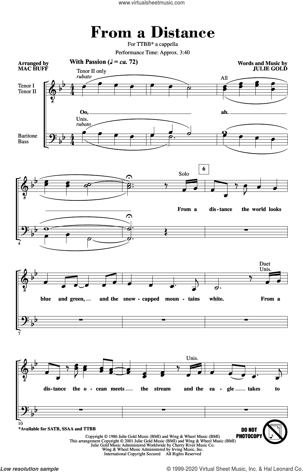 From A Distance (arr. Mac Huff) sheet music for choir (TTBB: tenor, bass) by Bette Midler, Mac Huff and Julie Gold, intermediate skill level