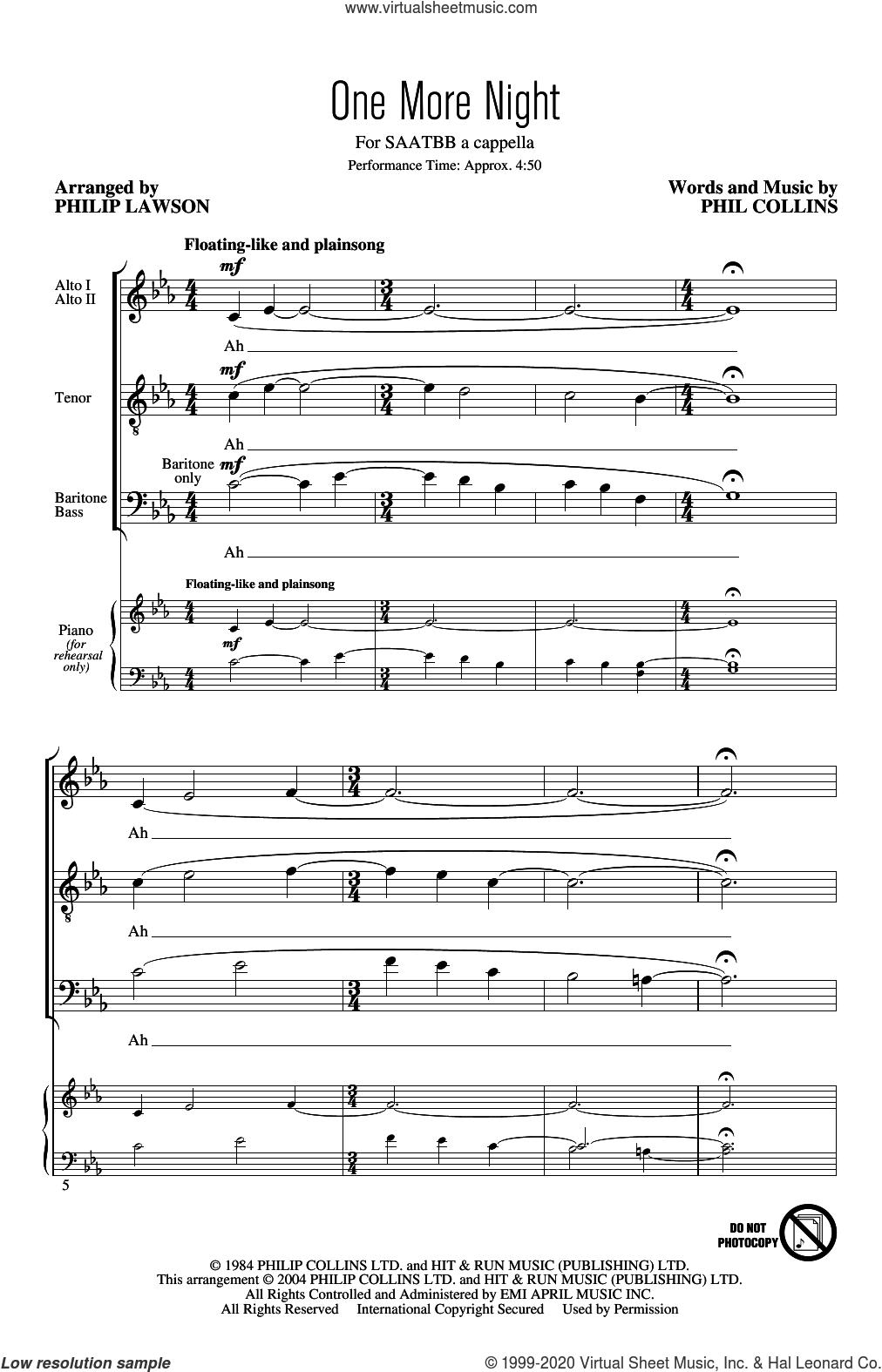 One More Night (arr. Philip Lawson) sheet music for choir (SATB: soprano, alto, tenor, bass) by Phil Collins and Philip Lawson, intermediate skill level