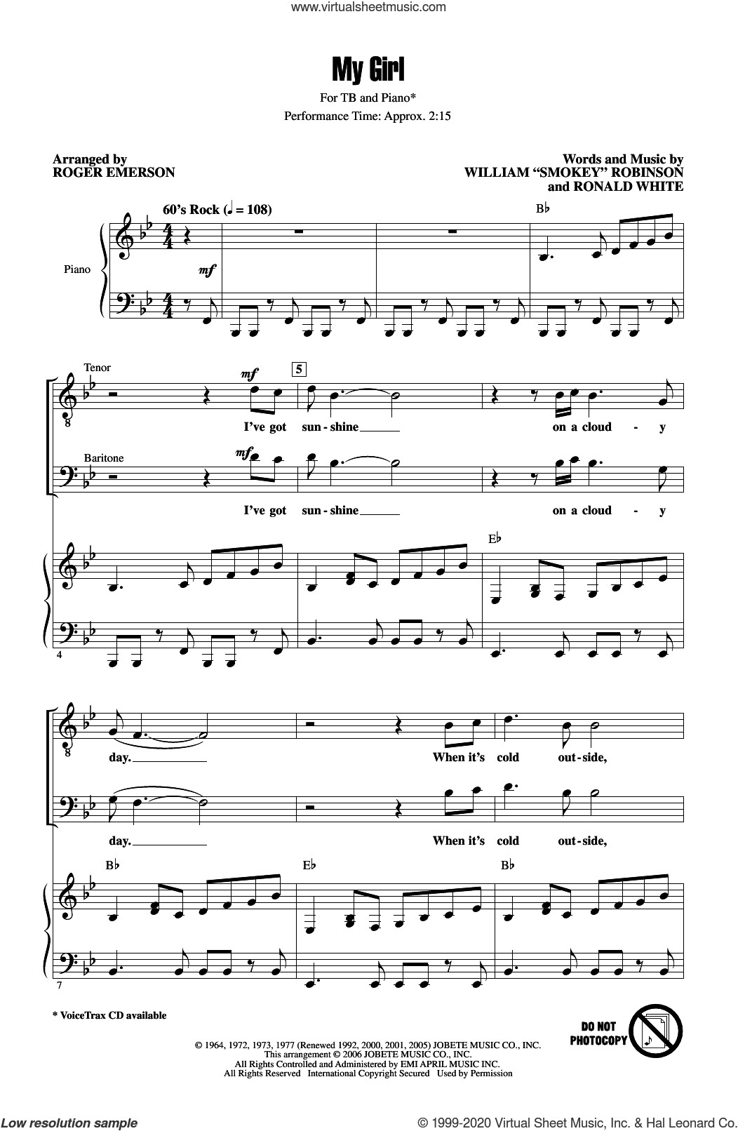 My Girl (arr. Roger Emerson) sheet music for choir (TB: tenor, bass) by The Temptations, Roger Emerson and Ronald White, intermediate skill level