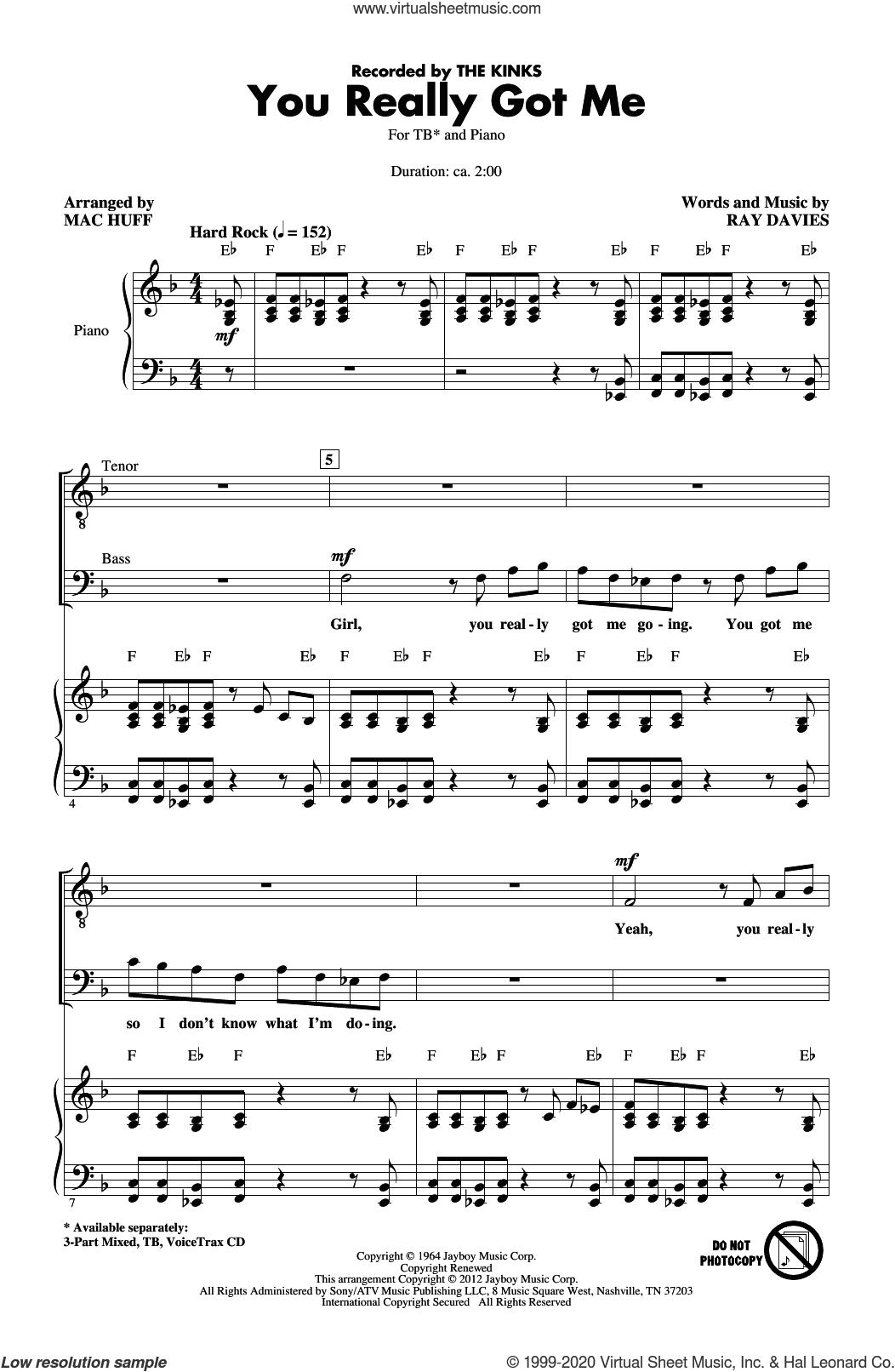 You Really Got Me (arr. Mac Huff) sheet music for choir (TB: tenor, bass) by The Kinks, Mac Huff and Ray Davies, intermediate skill level