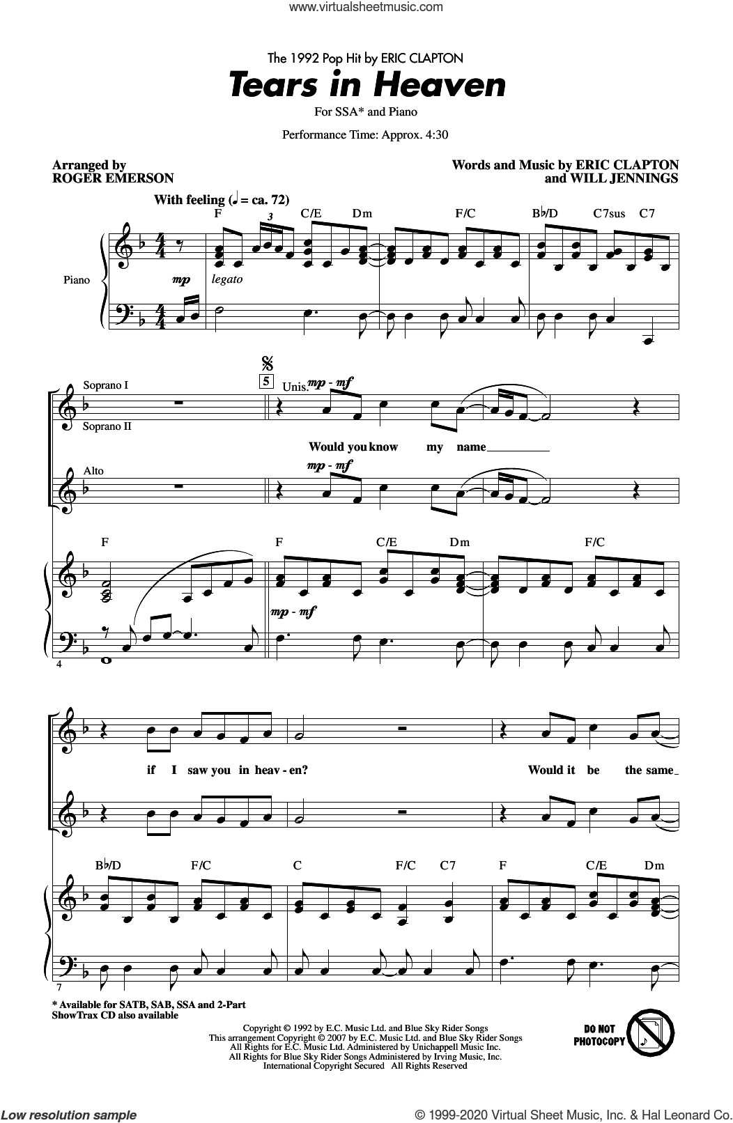 Tears In Heaven (arr. Roger Emerson) sheet music for choir (SSA: soprano, alto) by Eric Clapton, Roger Emerson and Will Jennings, intermediate skill level