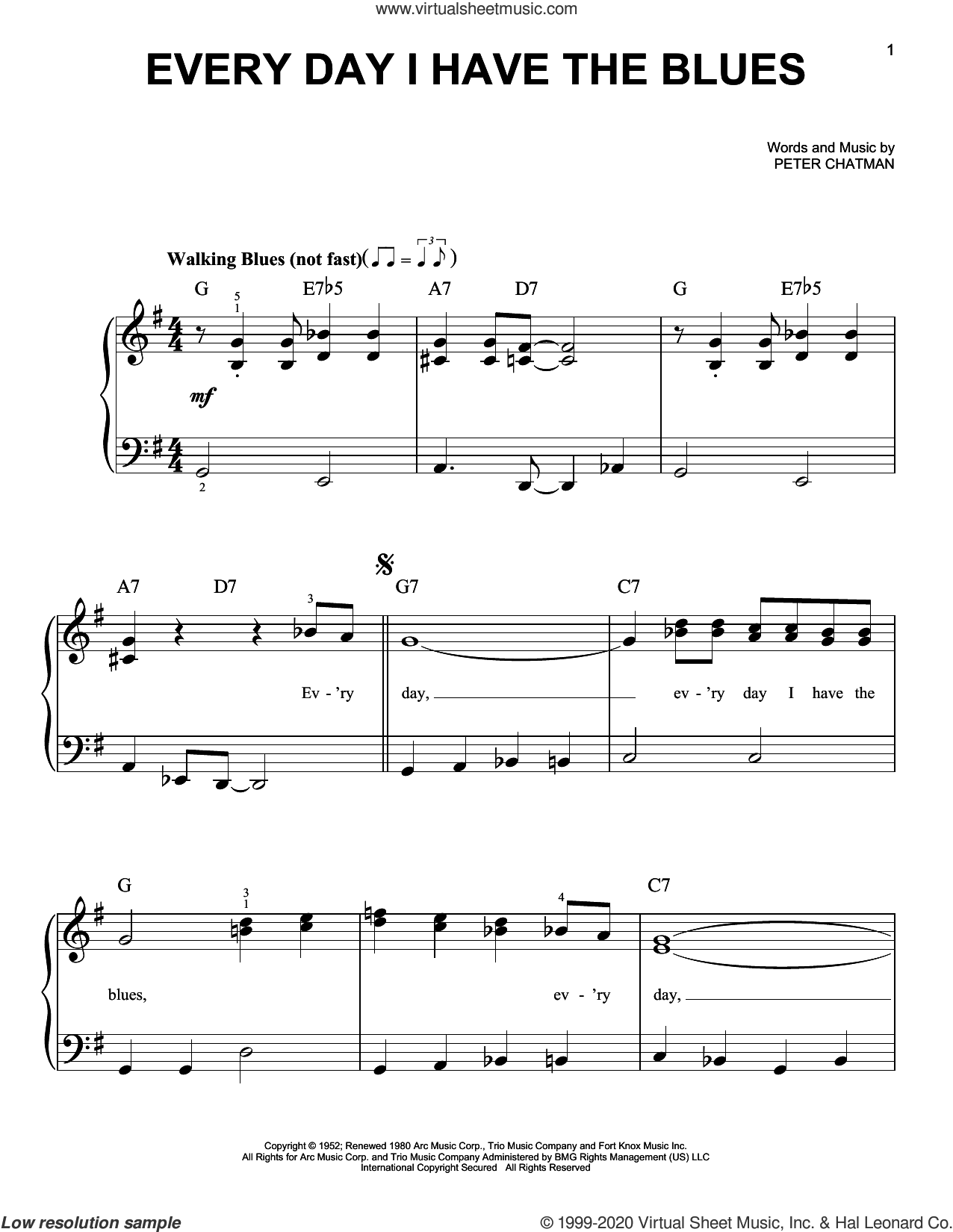 Every Day I Have The Blues sheet music for piano solo by B.B. King and Peter Chatman, beginner skill level