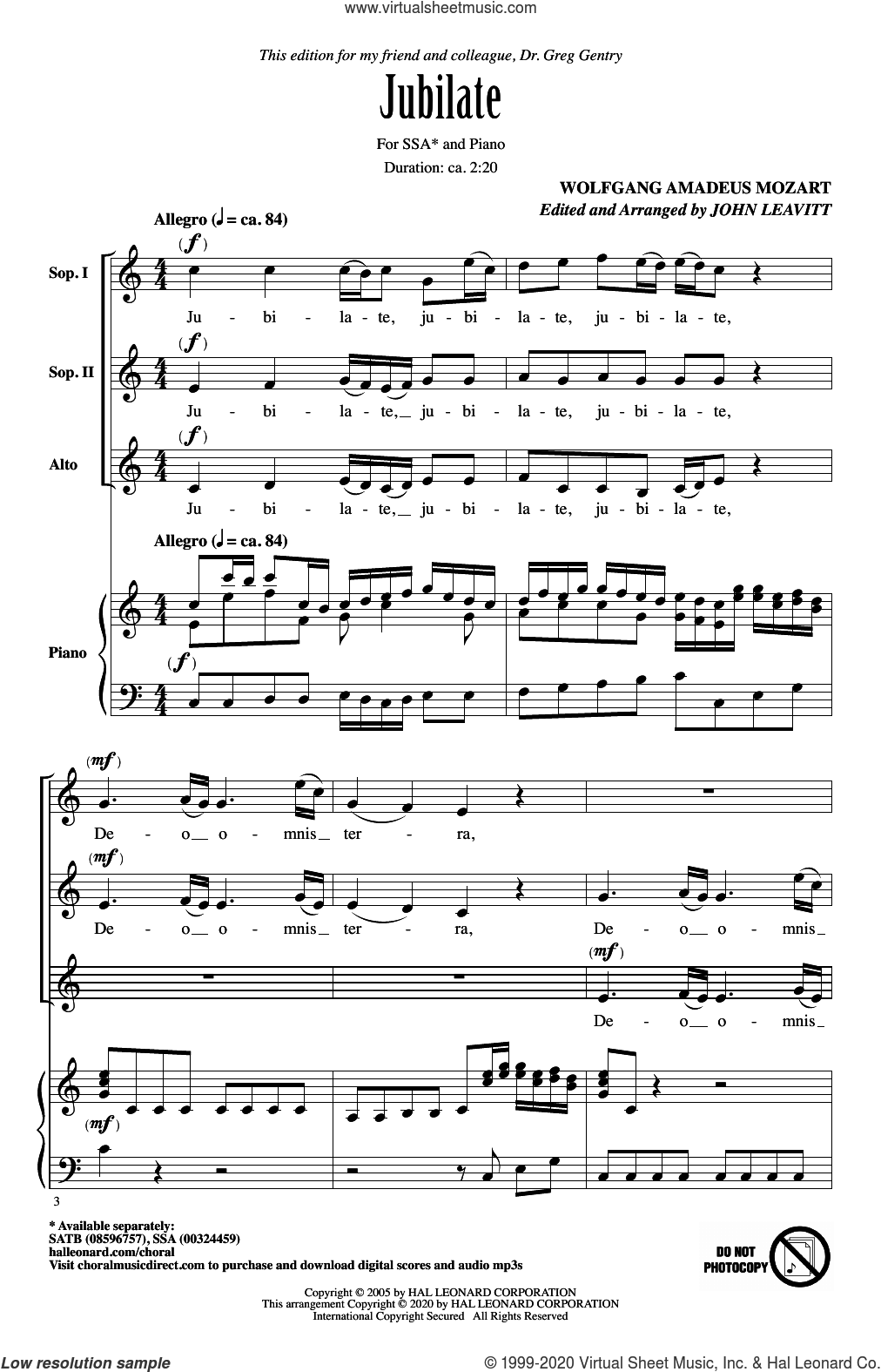 Jubilate (arr. John Leavitt) sheet music for choir (SSA: soprano, alto) by Wolfgang Amadeus Mozart and John Leavitt, intermediate skill level