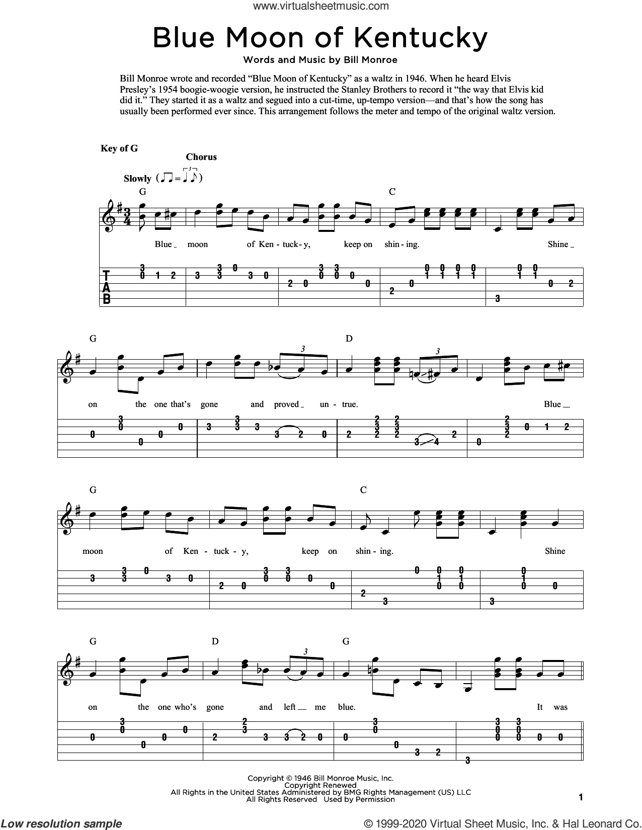 Blue Moon Of Kentucky (arr. Fred Sokolow) sheet music for guitar solo by Bill Monroe and Fred Sokolow, intermediate skill level