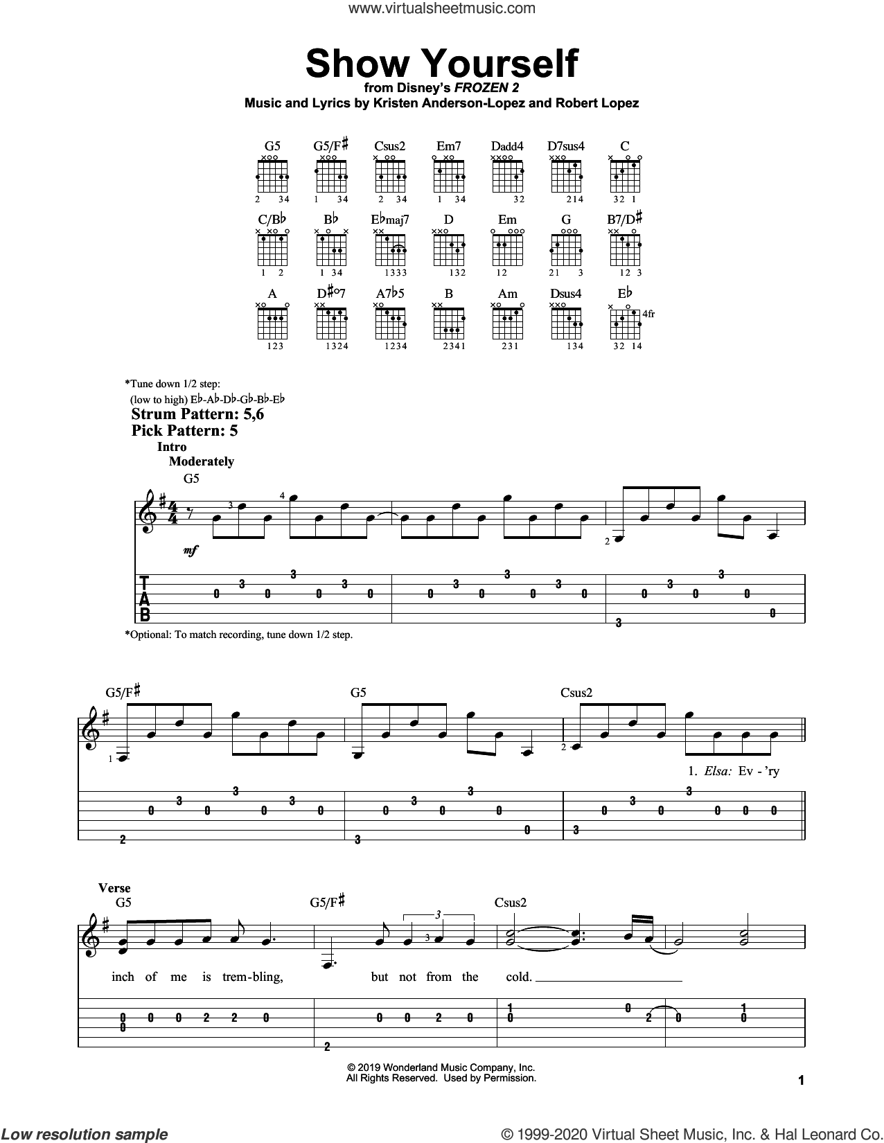 Show Yourself (from Disney's Frozen 2) sheet music for guitar solo (easy tablature) by Idina Menzel and Evan Rachel Wood, Kristen Anderson-Lopez and Robert Lopez, easy guitar (easy tablature)